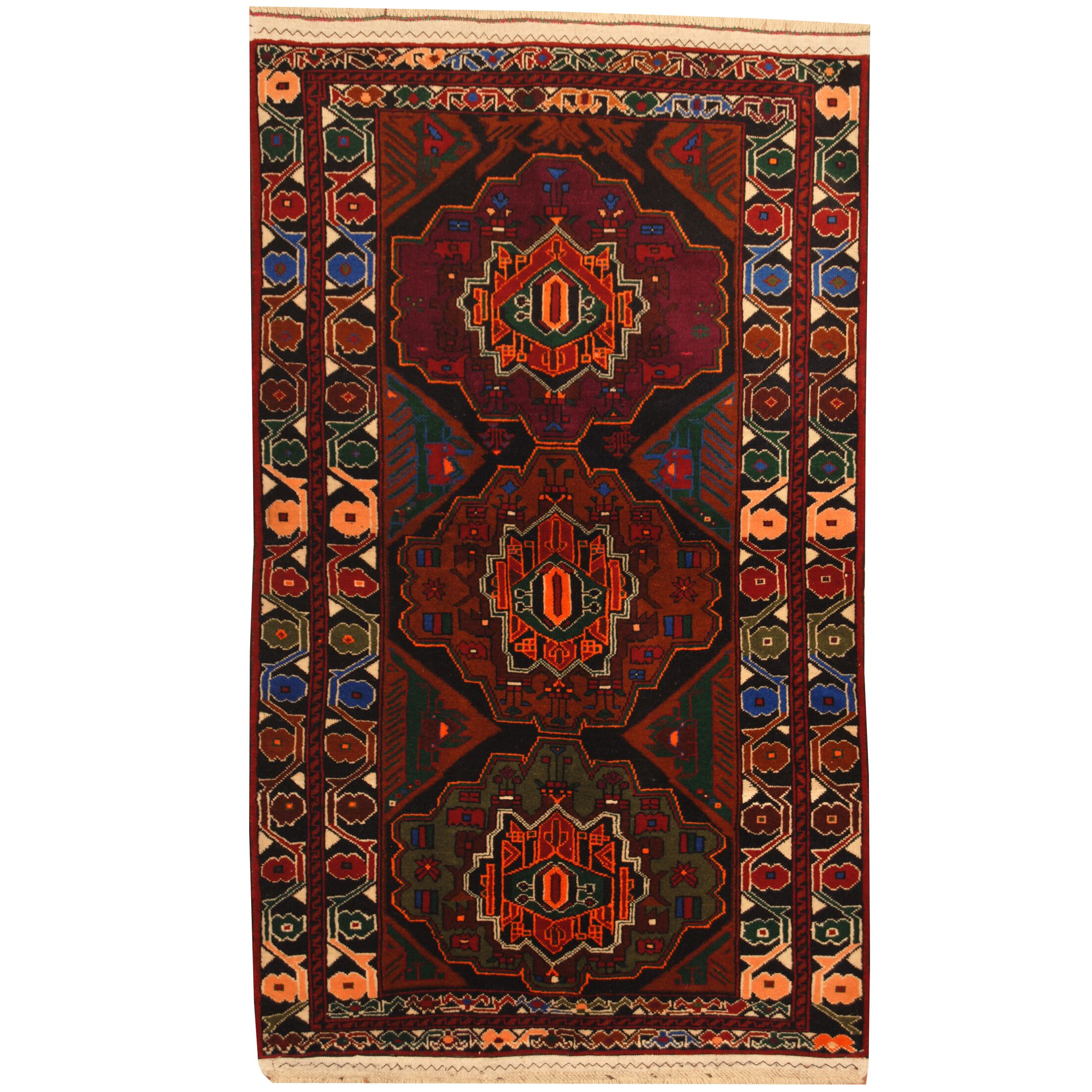 Prentice Hand-Knotted Navy/Burgundy Area Rug