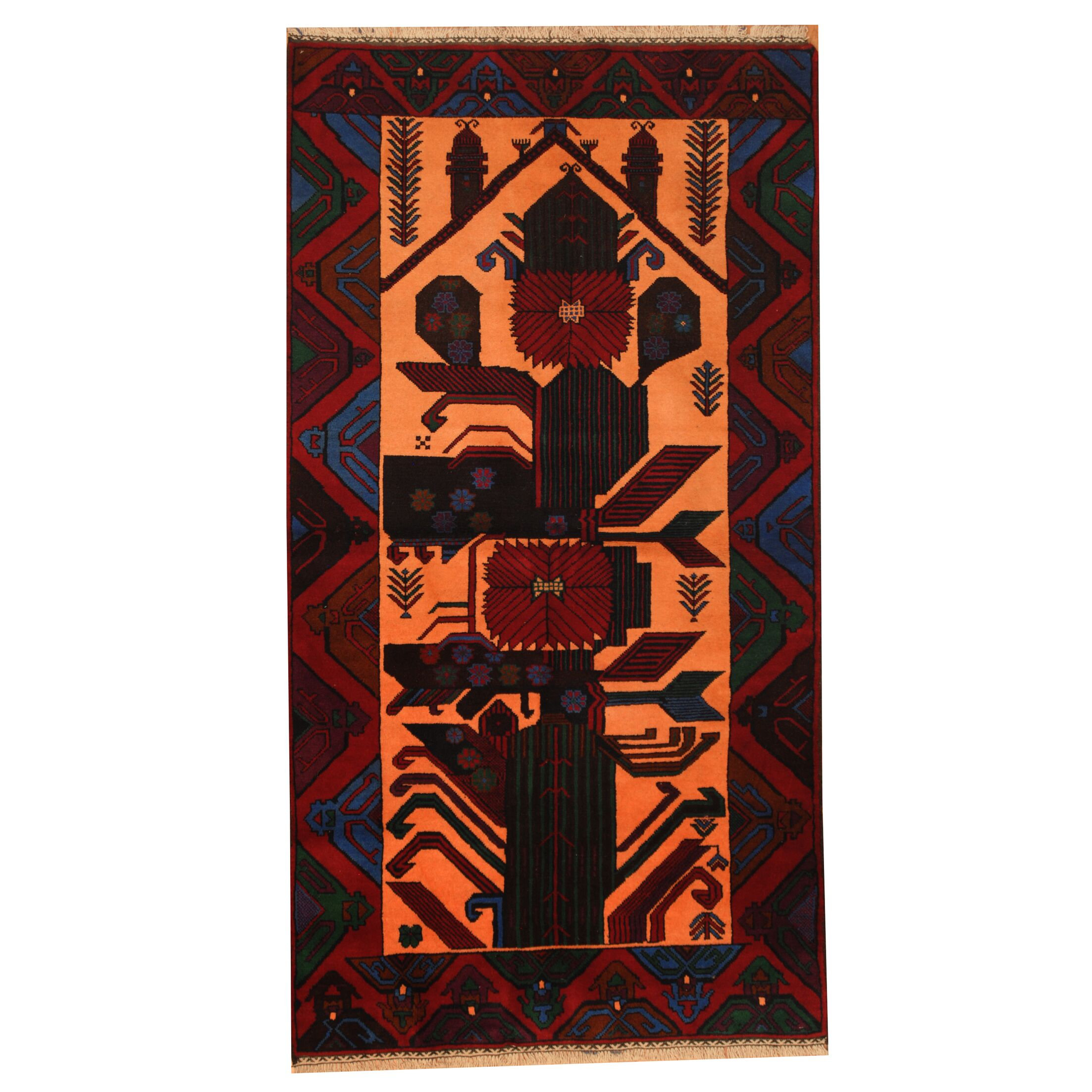 Prentice Hand-Knotted Salmon/Red Area Rug