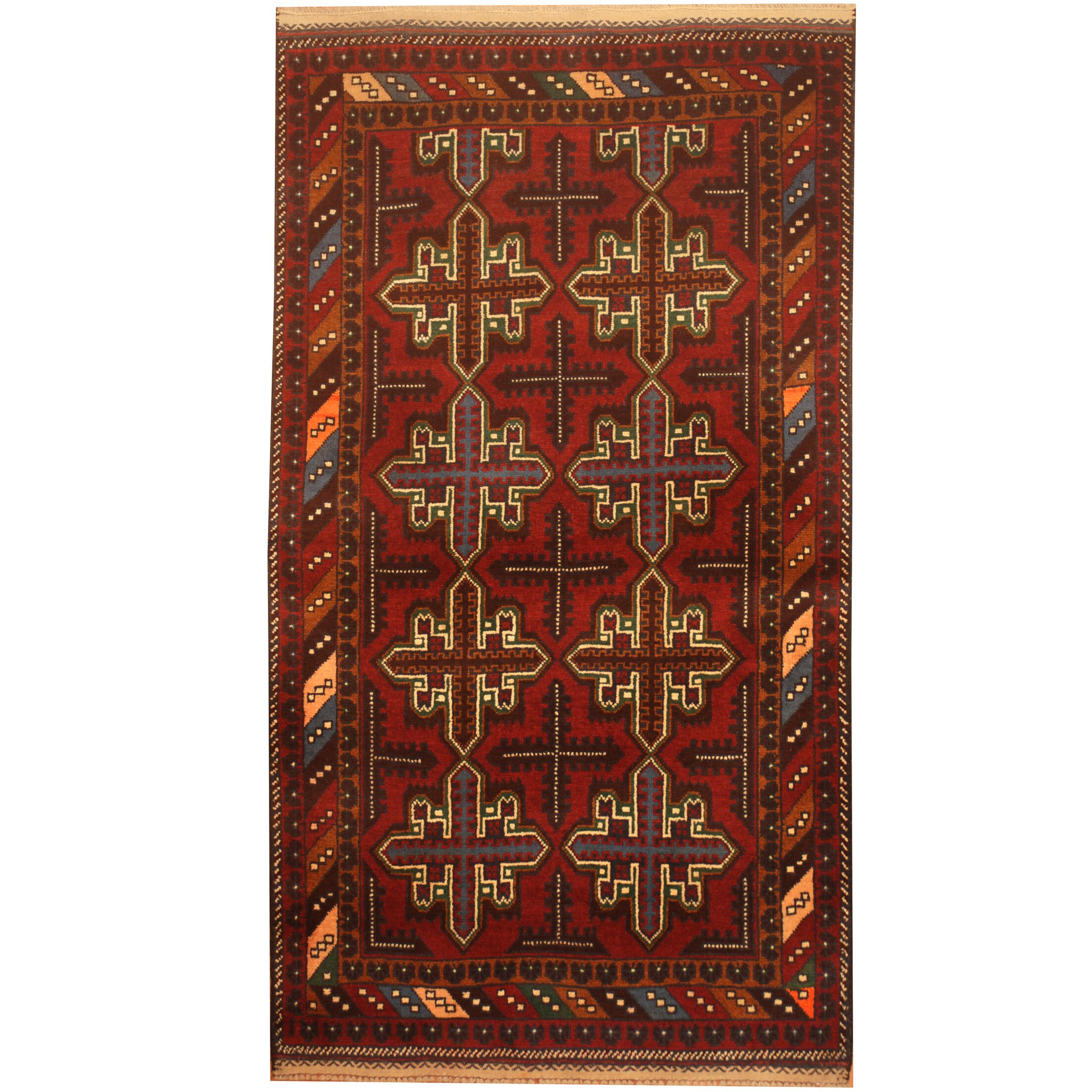Prentice Hand-Knotted Red/Navy Area Rug