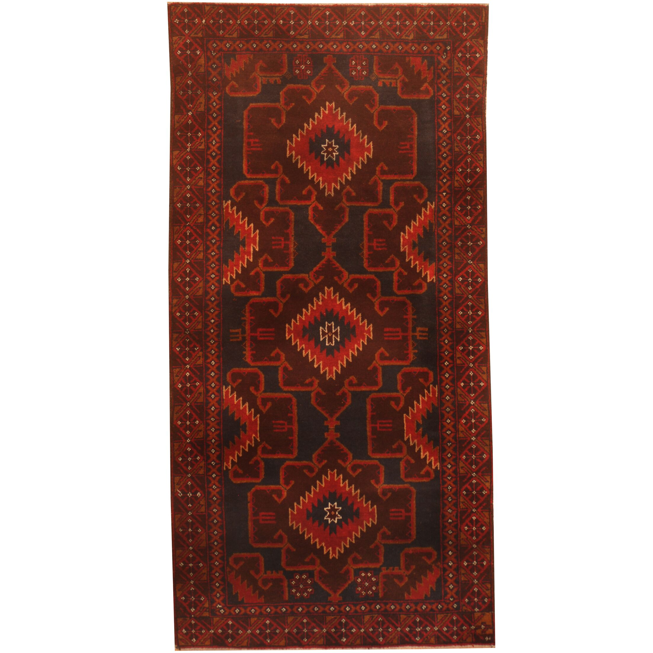 Prentice Hand-Knotted Navy/Red Area Rug