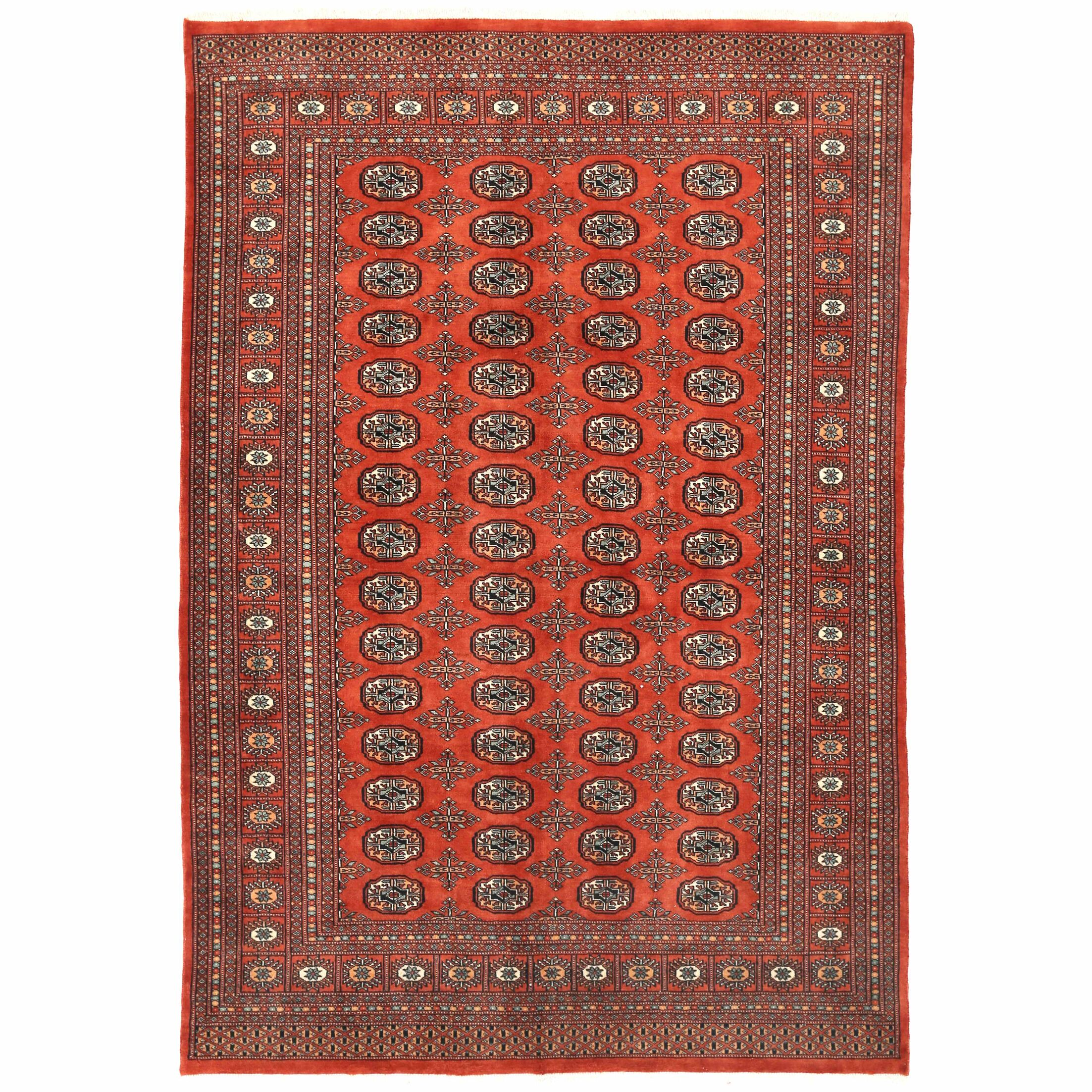 Tribal Bokhara Hand-Knotted Rust Area Rug