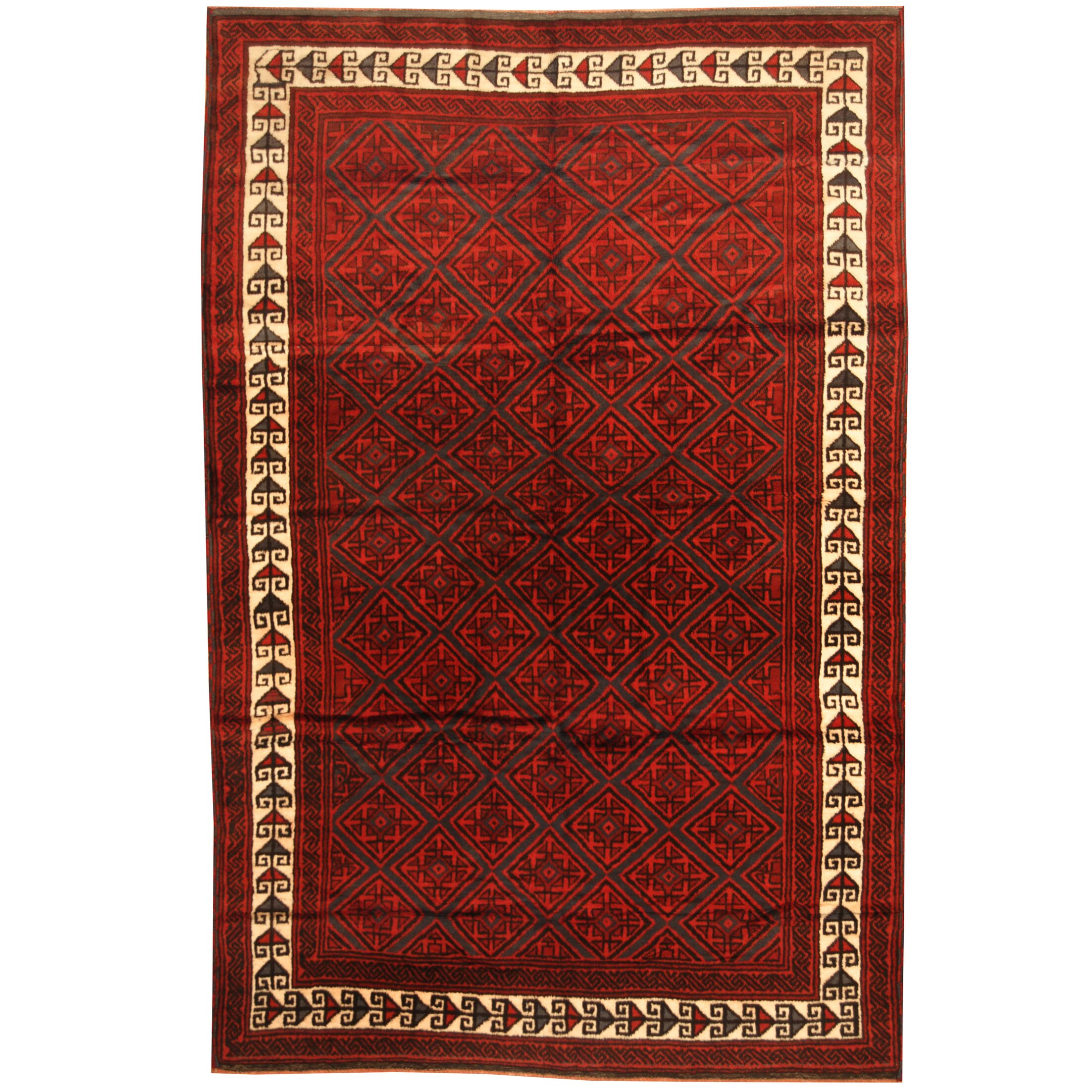 Prentice Hand-knotted Red/Ivory Area Rug