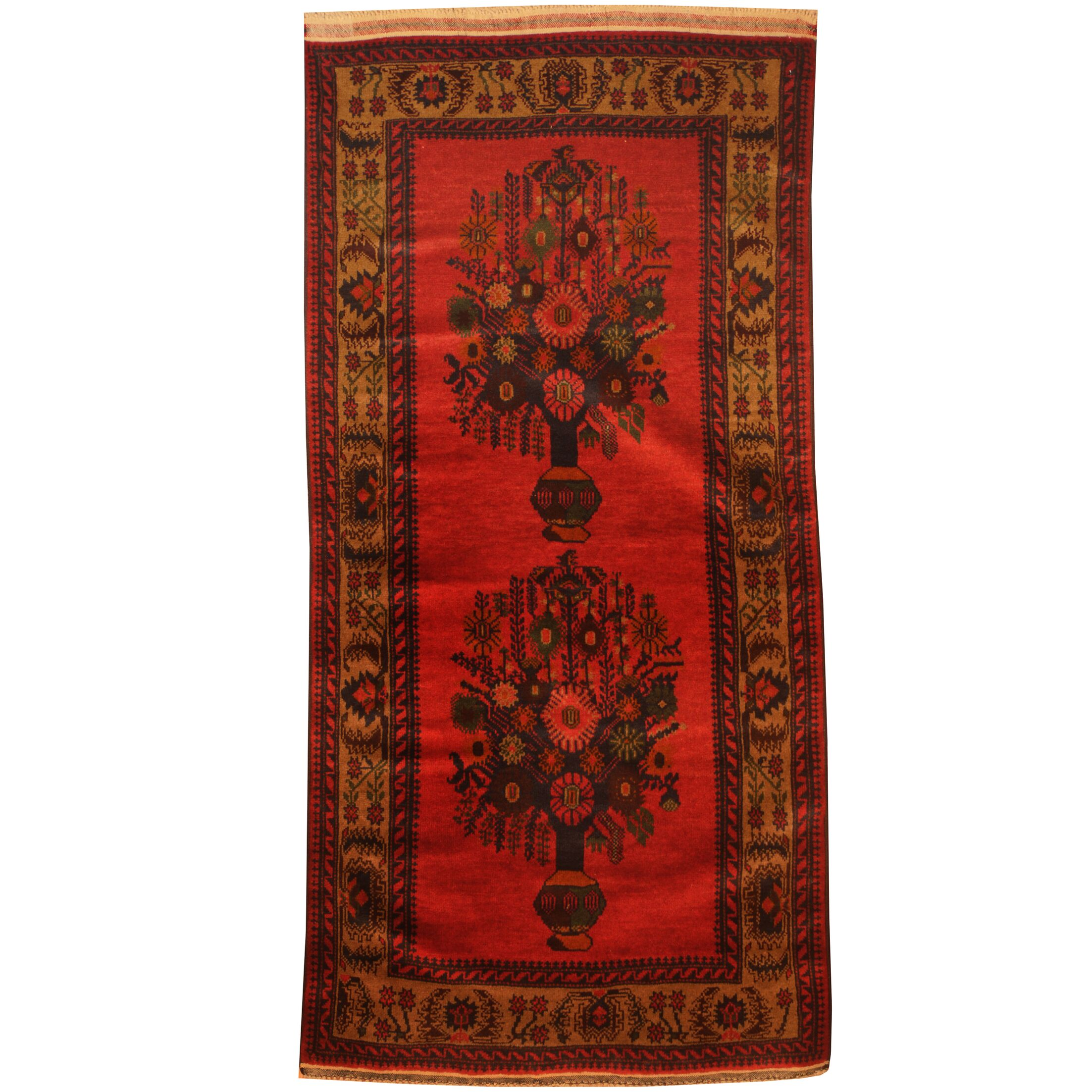 Prentice Hand-Knotted Red/Tan Area Rug