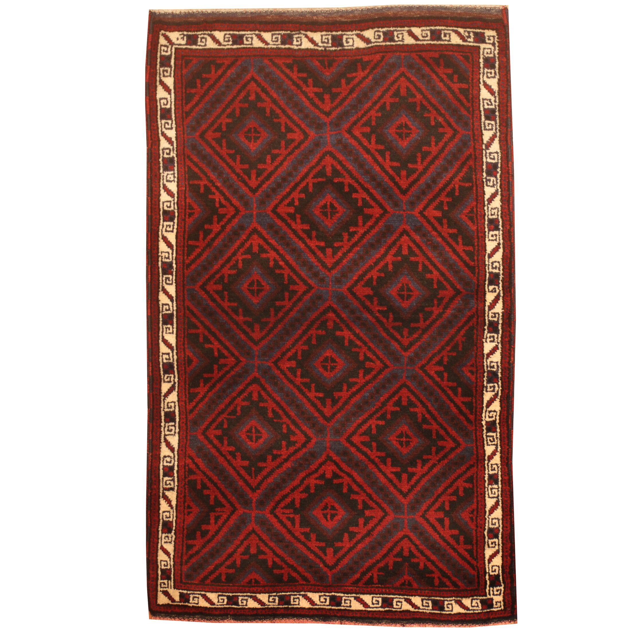 Prentice Hand-Knotted Red/Blue Area Rug