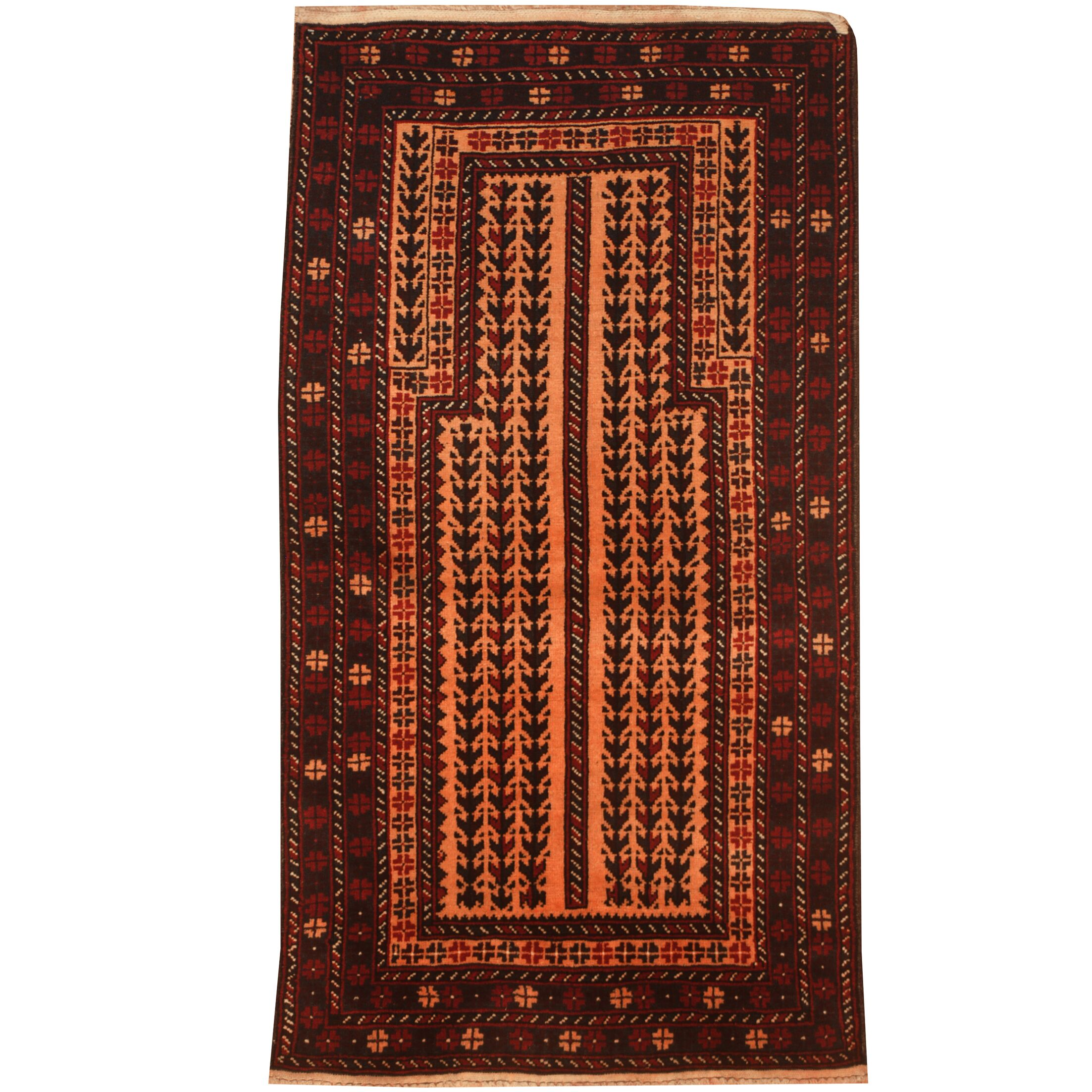Prentice Hand-Knotted Peach/Red Area Rug