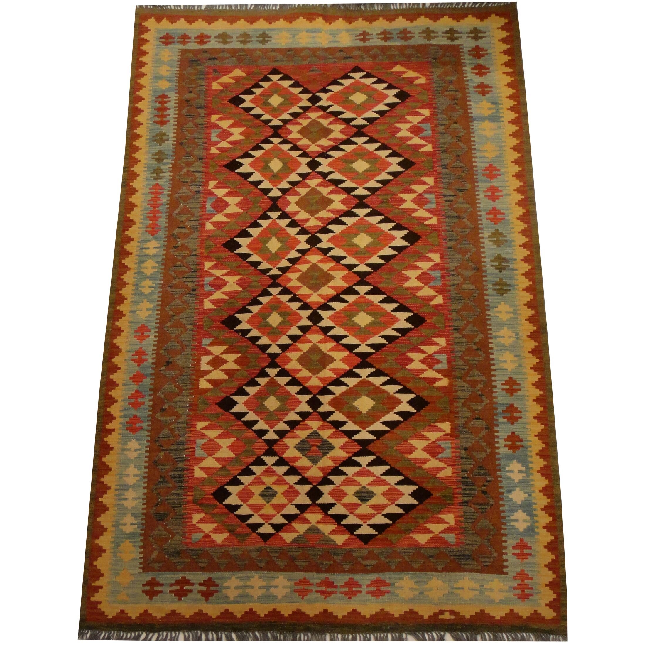 Kilim Hand-Woven Red/Light Blue Area Rug