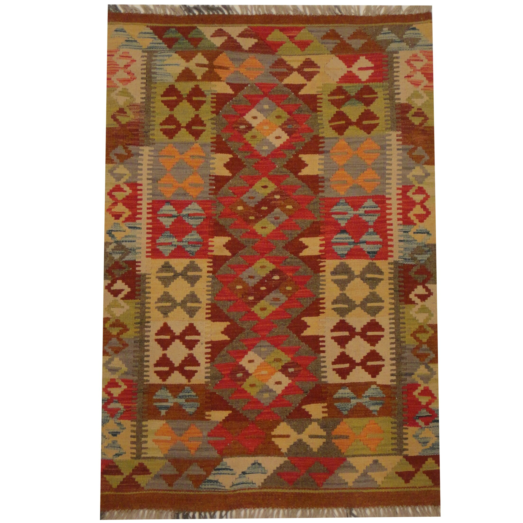 Kilim Tribal Hand-Woven Wool Red / Brown Area Rug