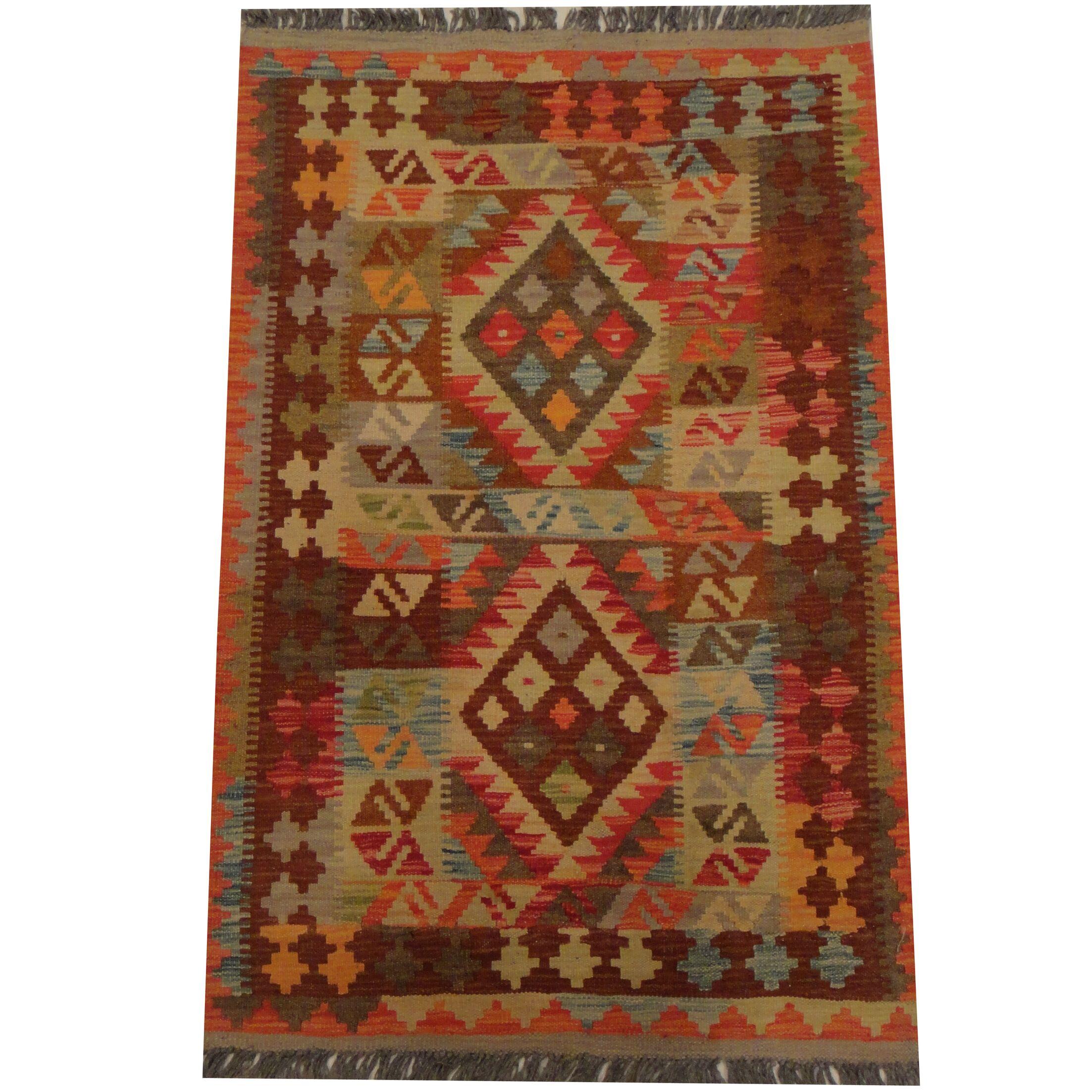 Kilim Tribal Hand-Woven Wool Rust / Light Green Area Rug