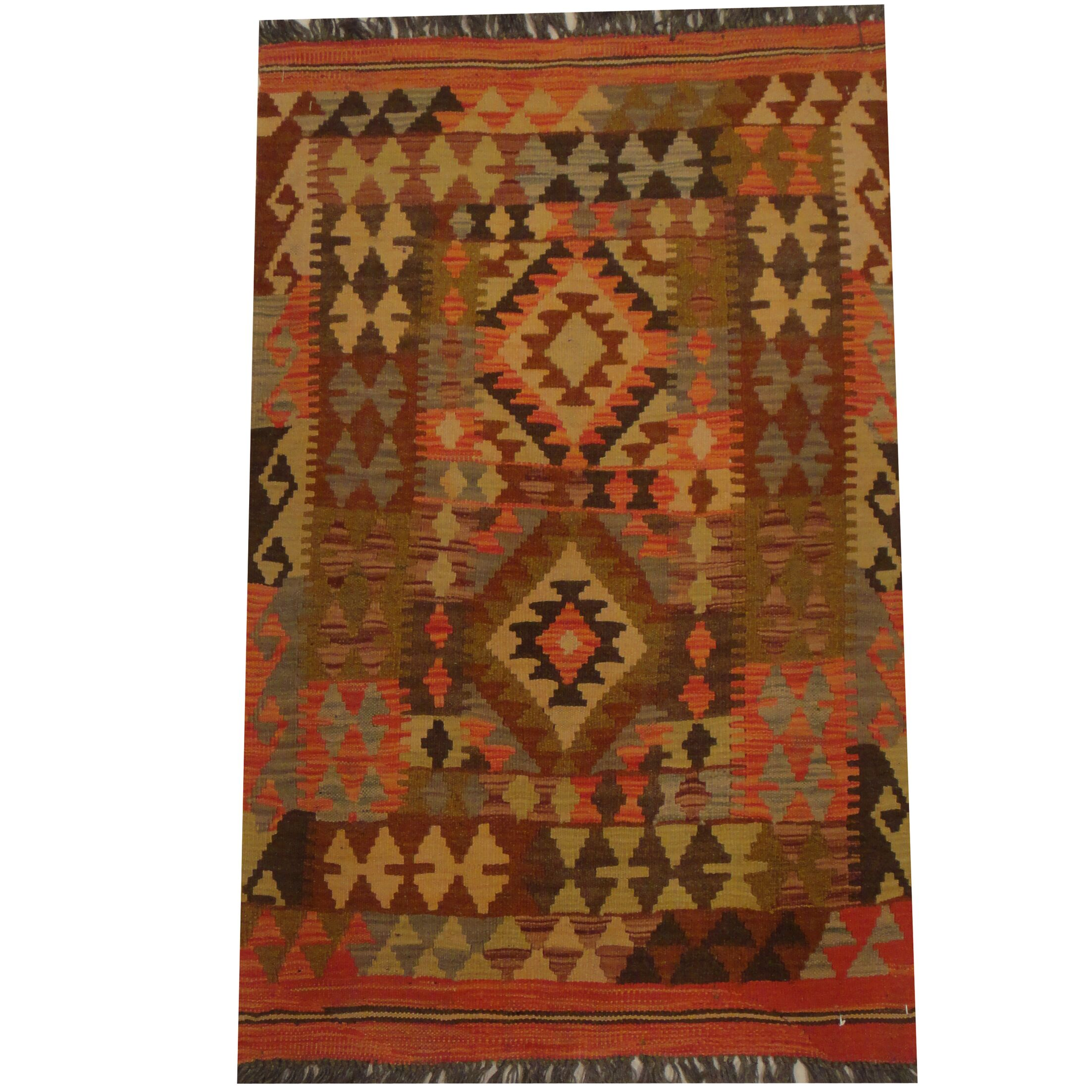 Hand-Woven Red/Brown Area Rug