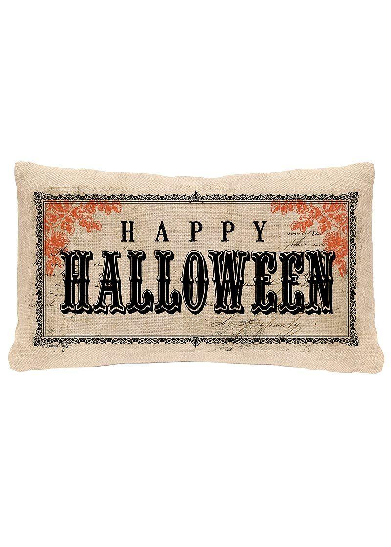 Vintage Halloween Lumbar Pillow Cover