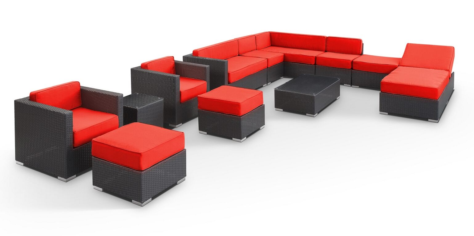 Fusion 12 Piece Rattan Sectional Set with Cushions Fabric: Red, Color: Espresso