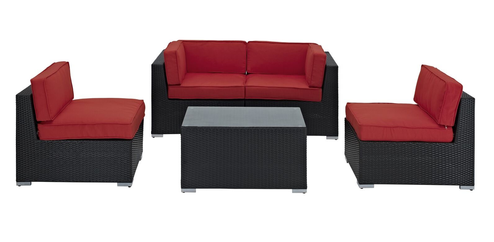 Delight 5 Piece Rattan Sofa Set with Cushions Fabric: Red