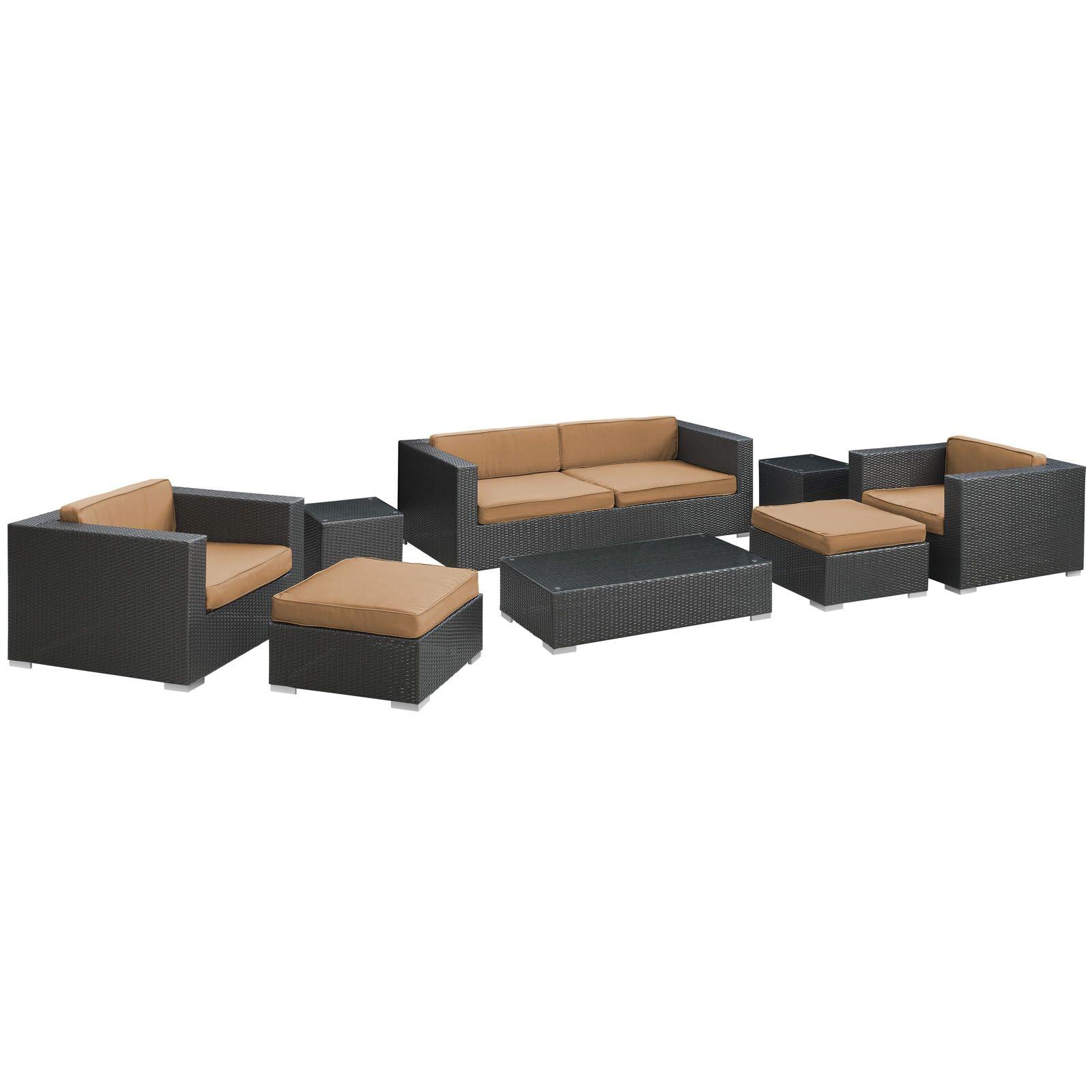 Venice 8 Piece Rattan Sofa Set with Cushions Color: Espresso, Fabric: Mocha