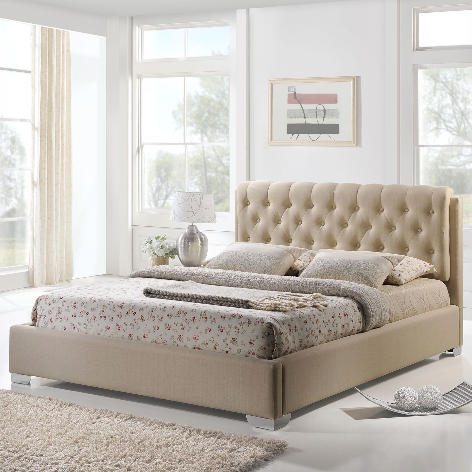 Amelia Full Upholstered Platform Bed Color: Beige