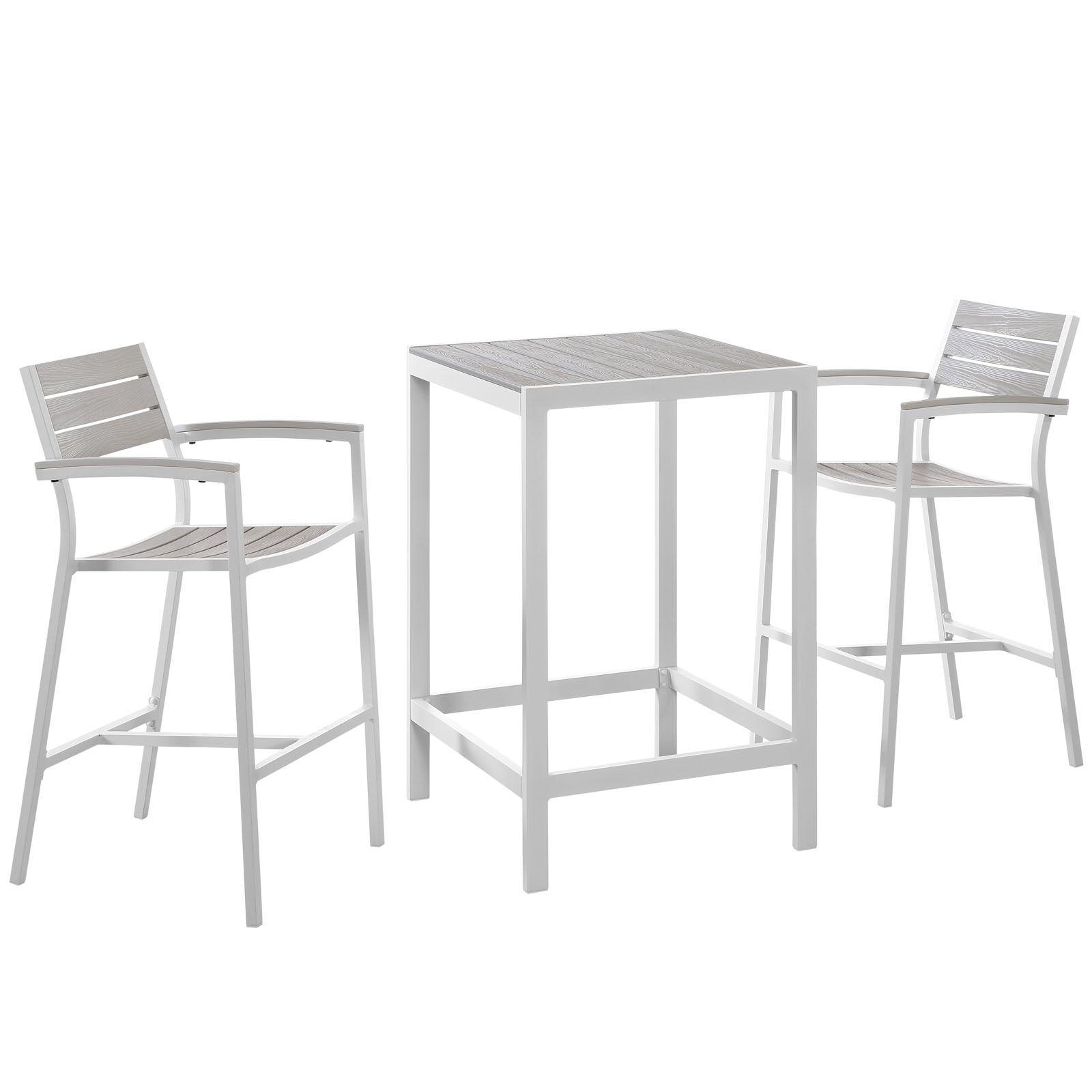 Ellport 3 Piece Bar Height Dining Set Finish: White / Light Grey
