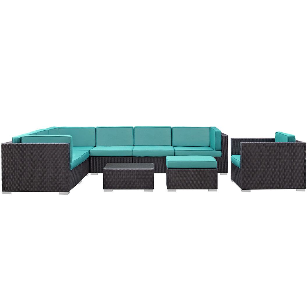 Ryele 9 Piece Rattan Sectional Set with Cushions Fabric: Turquoise