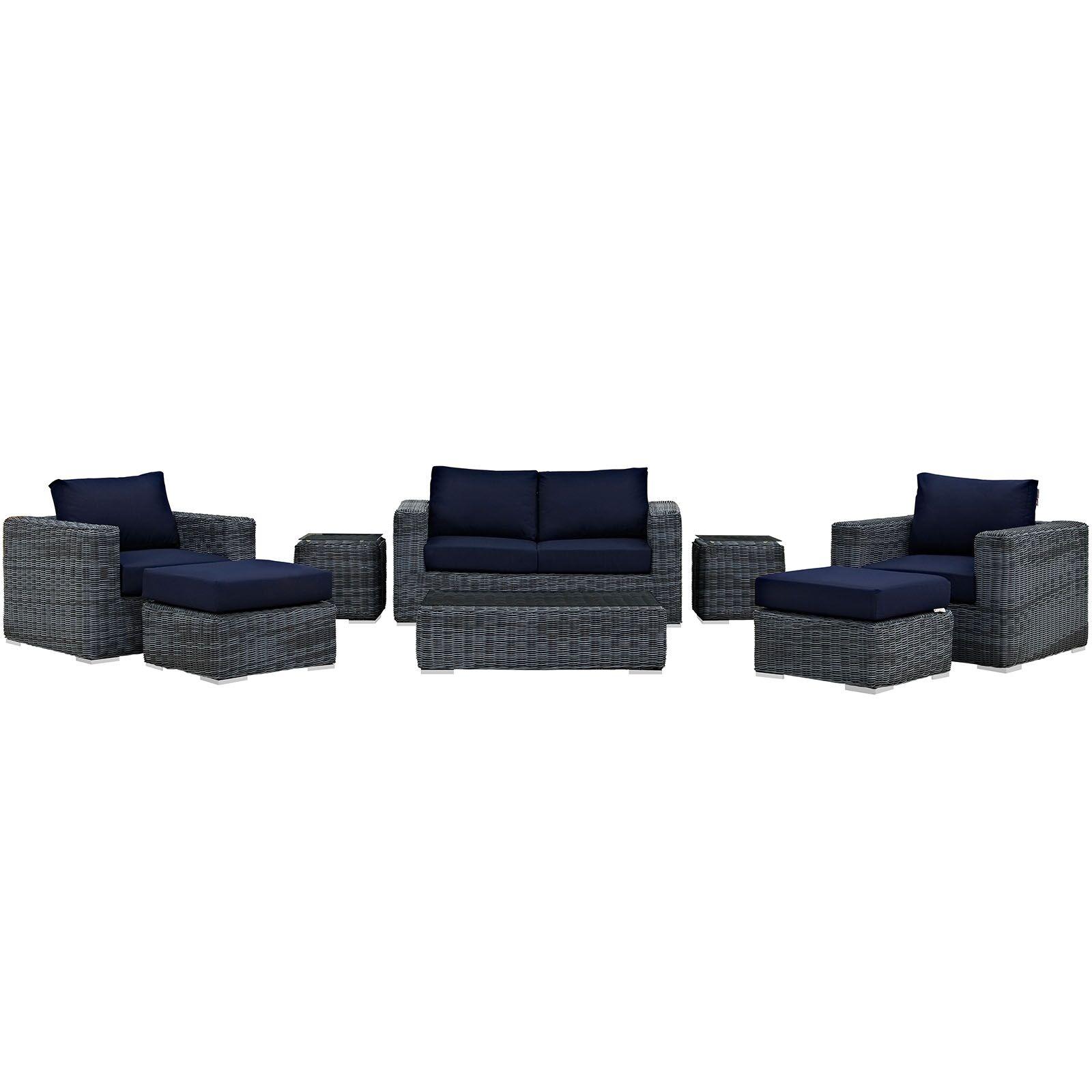 Keiran 8 Piece Sunbrella Sectional Set with Cushions Fabric: Navy