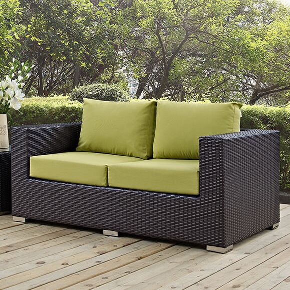 Provencher Patio Loveseat with Cushions Fabric: Peridot