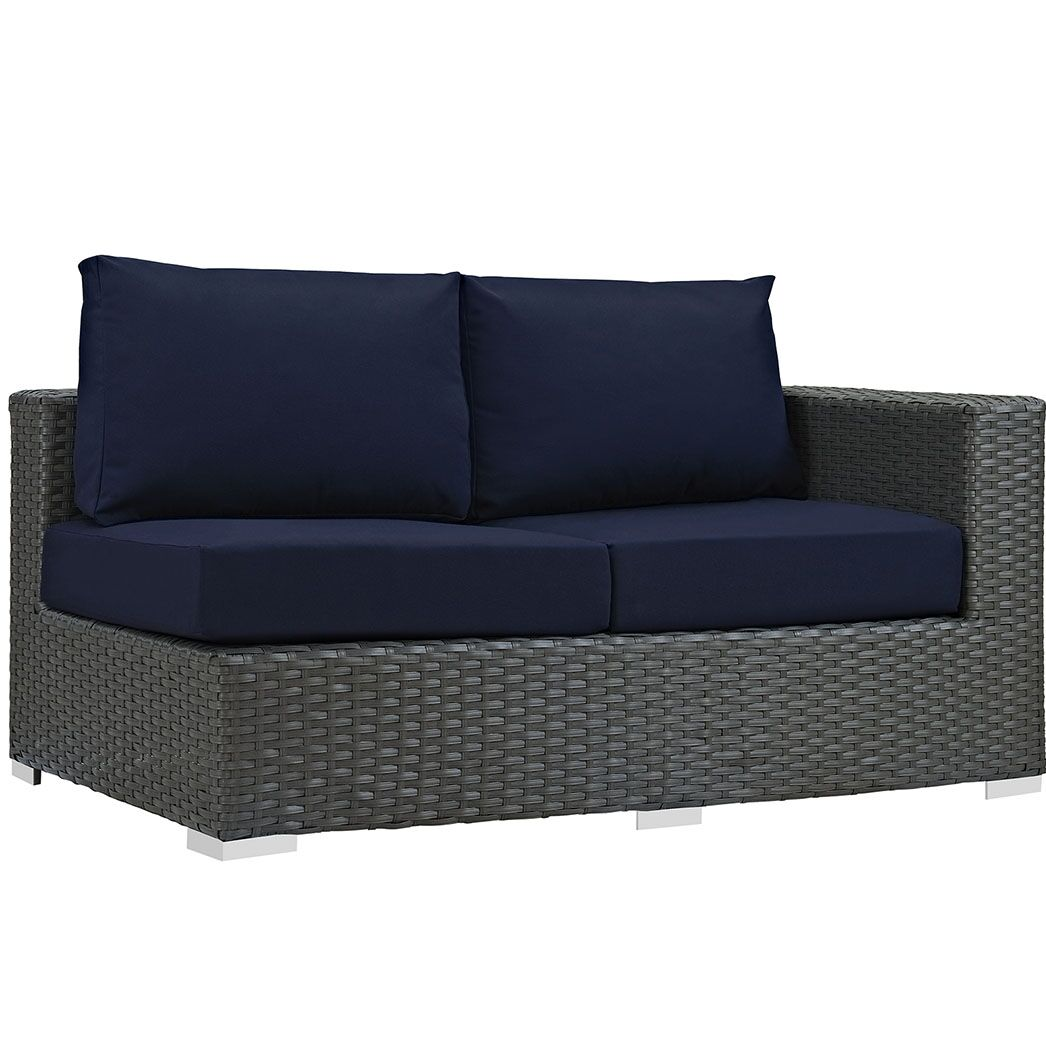 Tripp Right Arm Loveseat Sectional Piece with Cushions Fabric: Navy