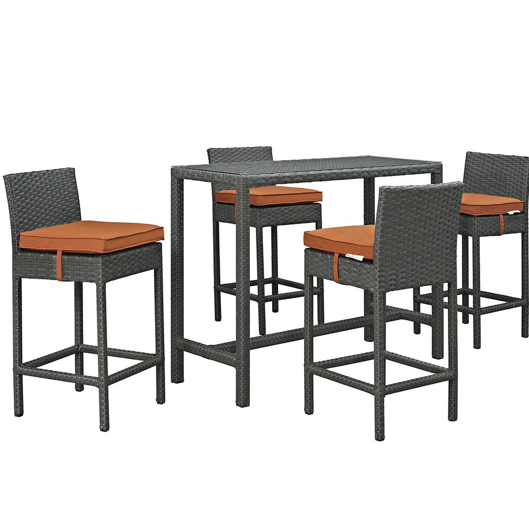 Tripp 5 Piece Bar Height Dining Set with Cushion Cushion Color: Tuscan