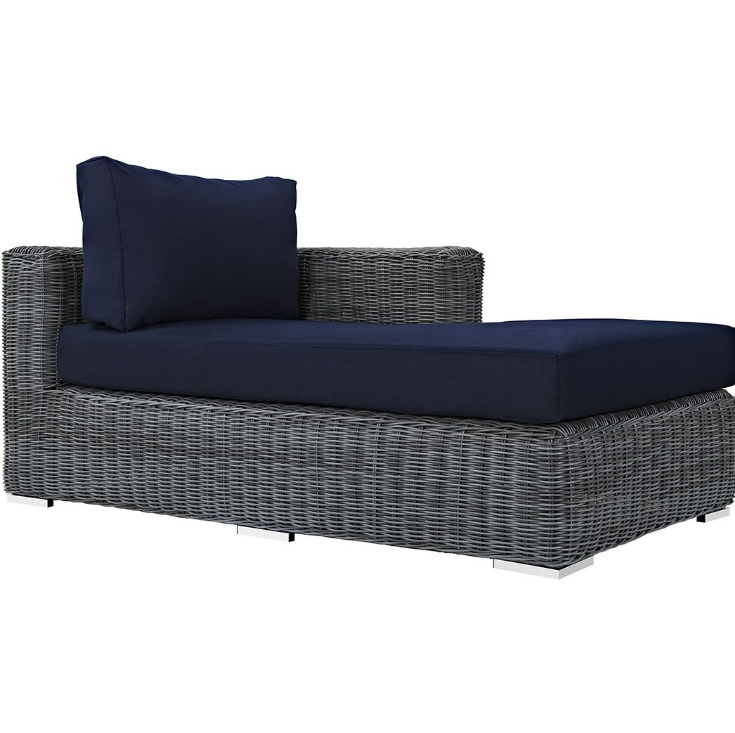 Keiran Right Arm Chaise Sectional Piece with Cushions Fabric: Navy