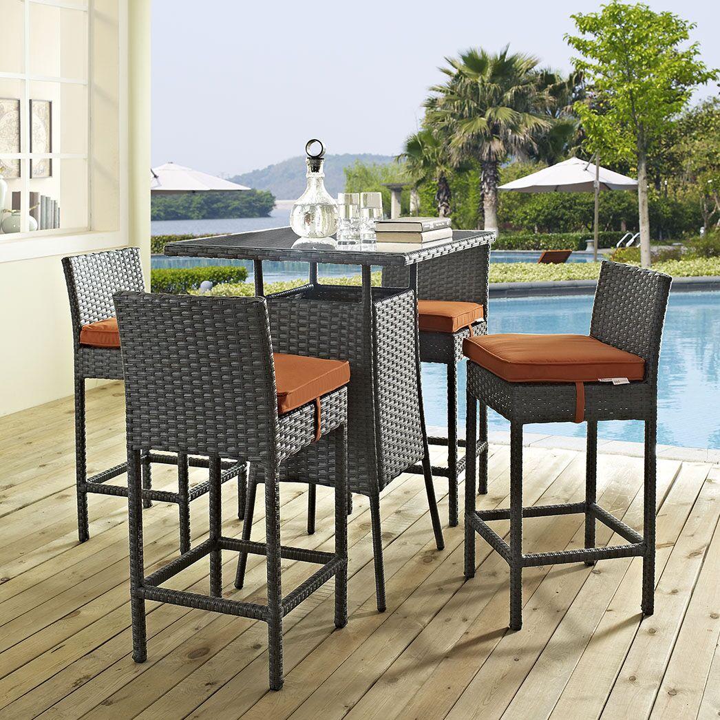 Tripp 5 Piece Bar Height Dining Set with Cushion Cushion Color: Tuscan