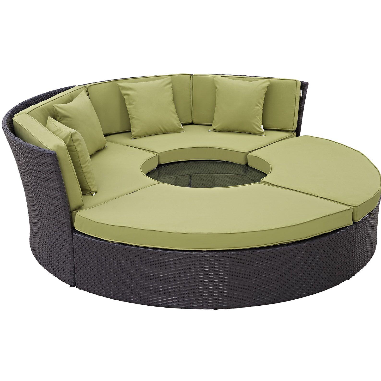 Ryele 5 Piece Rattan Sectional Set with Cushions Fabric: Peridot