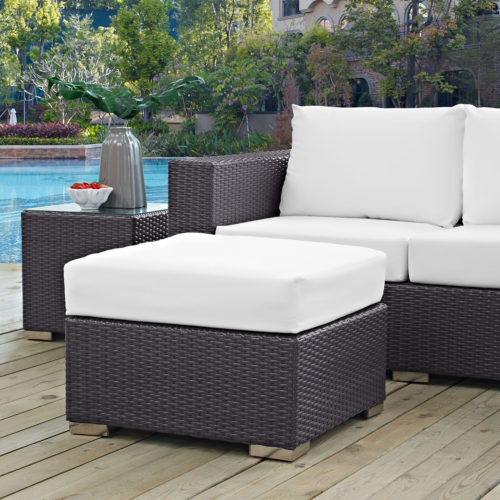 Ryele Outdoor Ottoman with Cushion Fabric: White