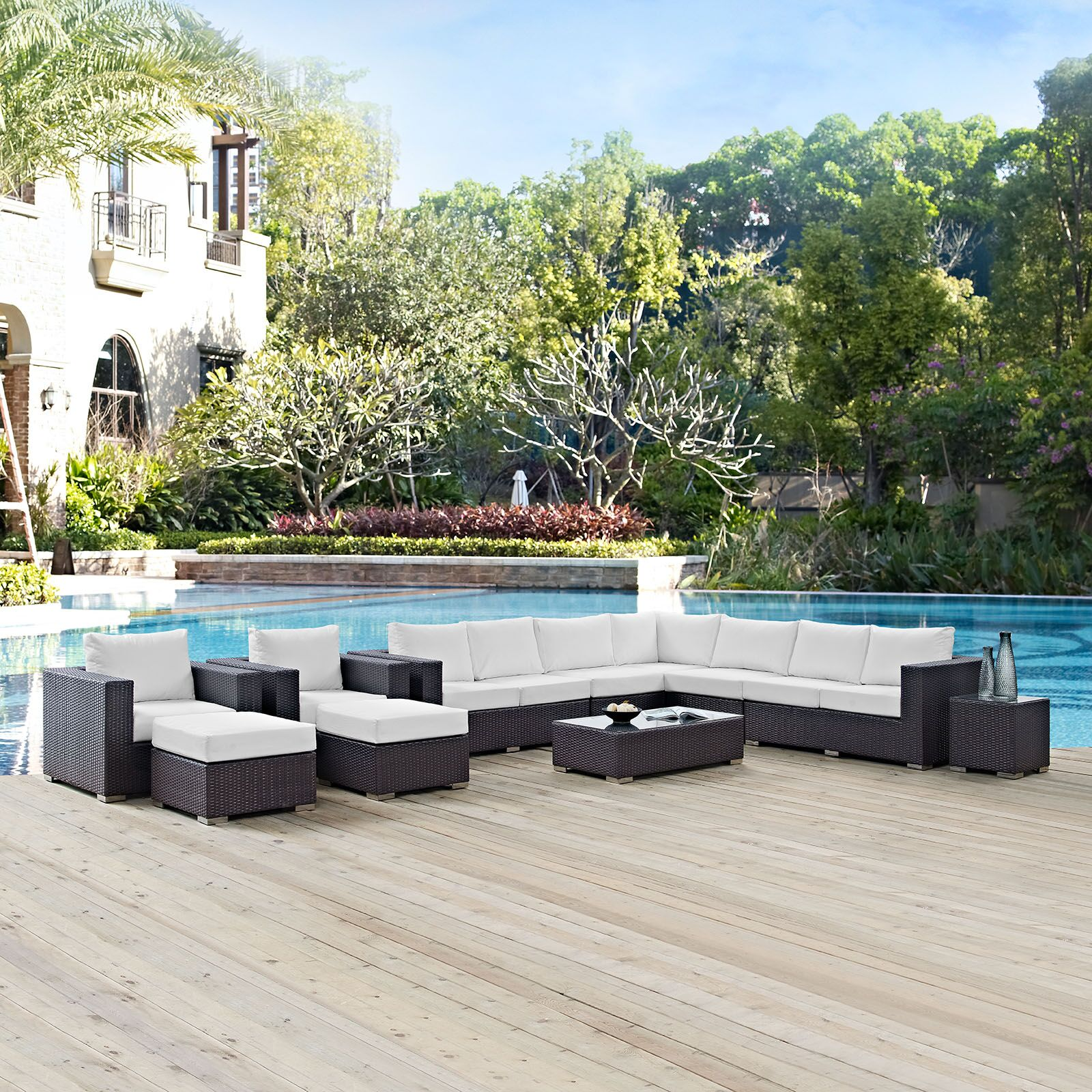 Ryele 11 Piece Rattan Sectional Set with Cushions Fabric: White