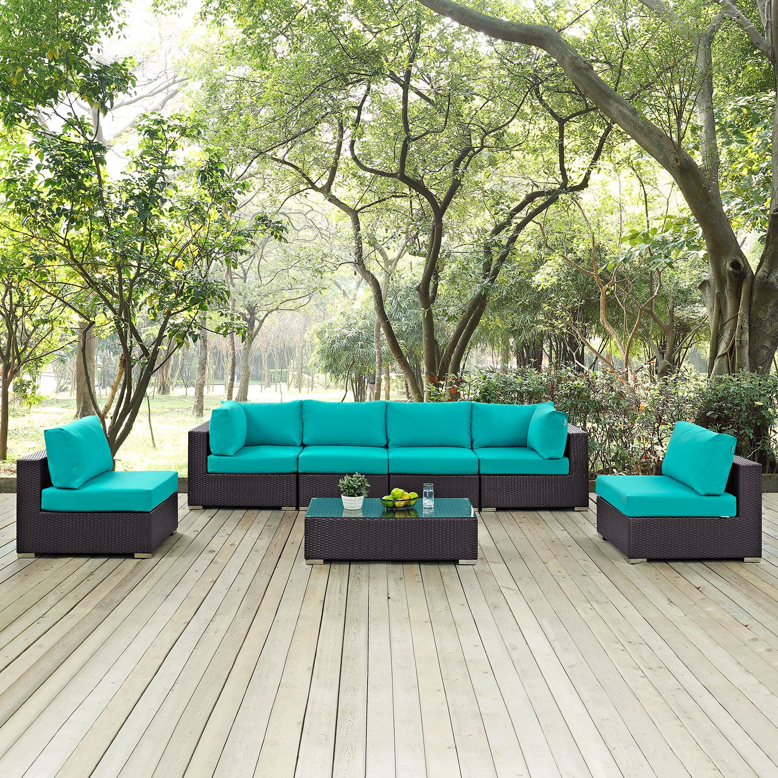 Ryele 7 Piece Rattan Sectional Set with Cushions Fabric: Turquoise