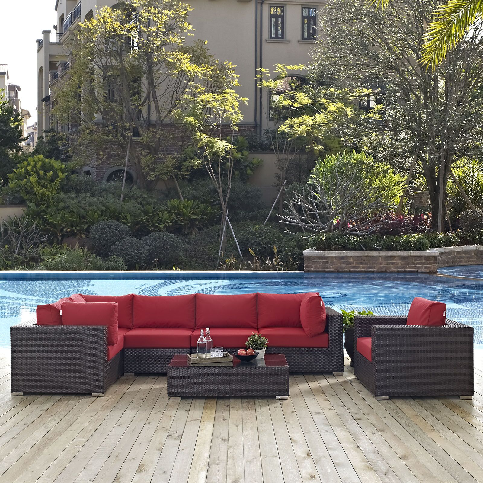 Ryele 7 Piece Rattan Sectional Set with Cushions Fabric: Red