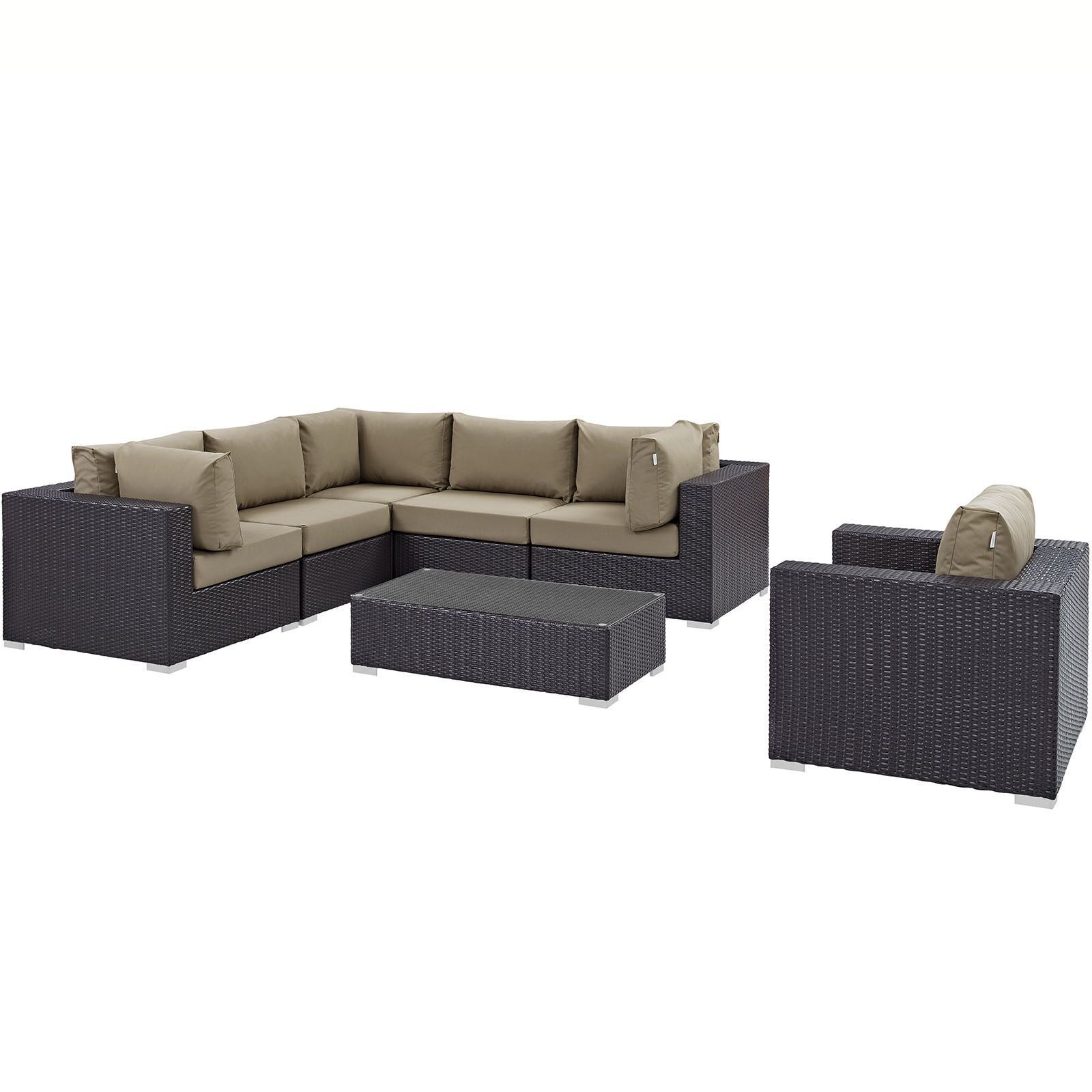 Ryele 7 Piece Rattan Sectional Set with Cushions Fabric: Mocha