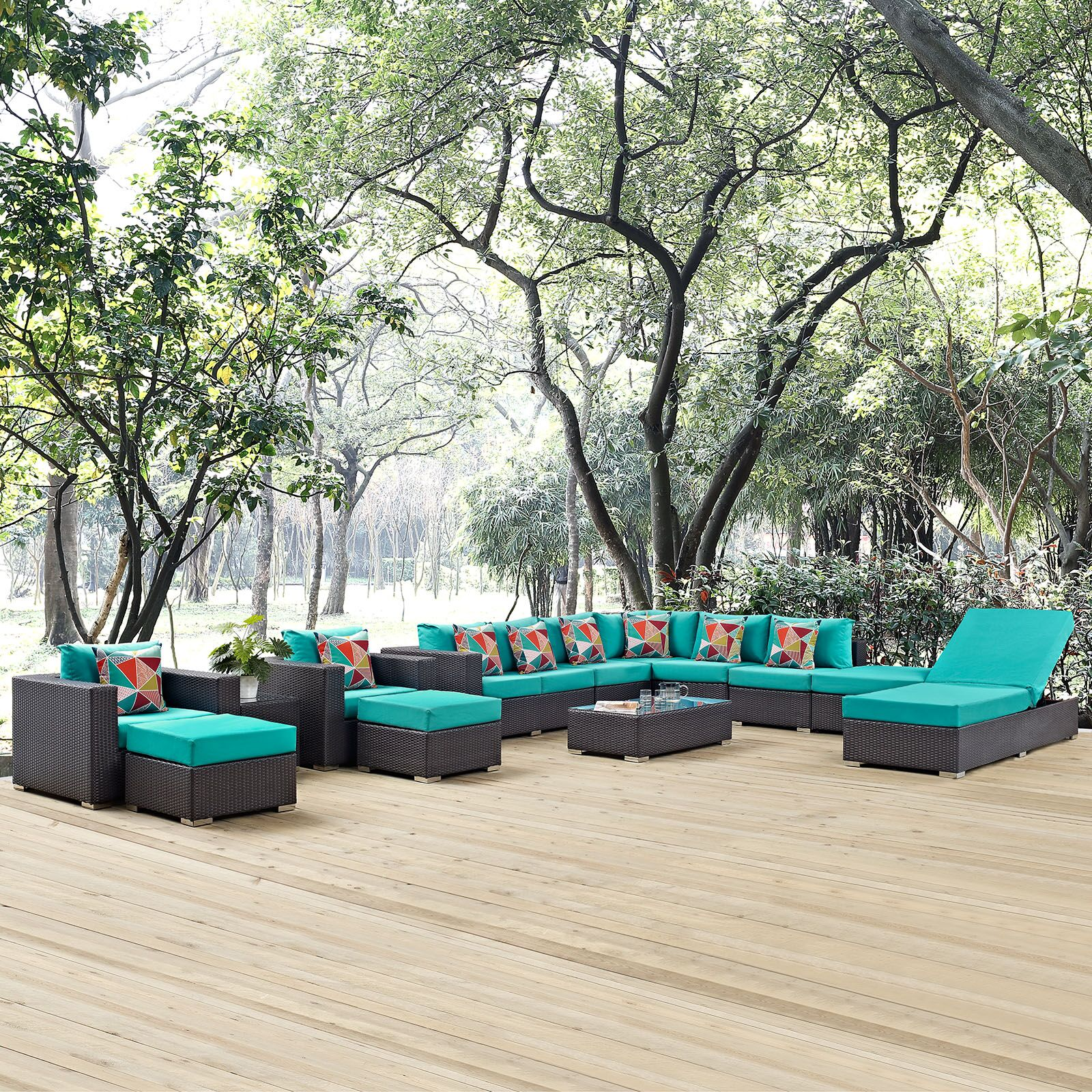 Ryele 12 Piece Rattan Sectional Set with Cushions Fabric: Turquoise