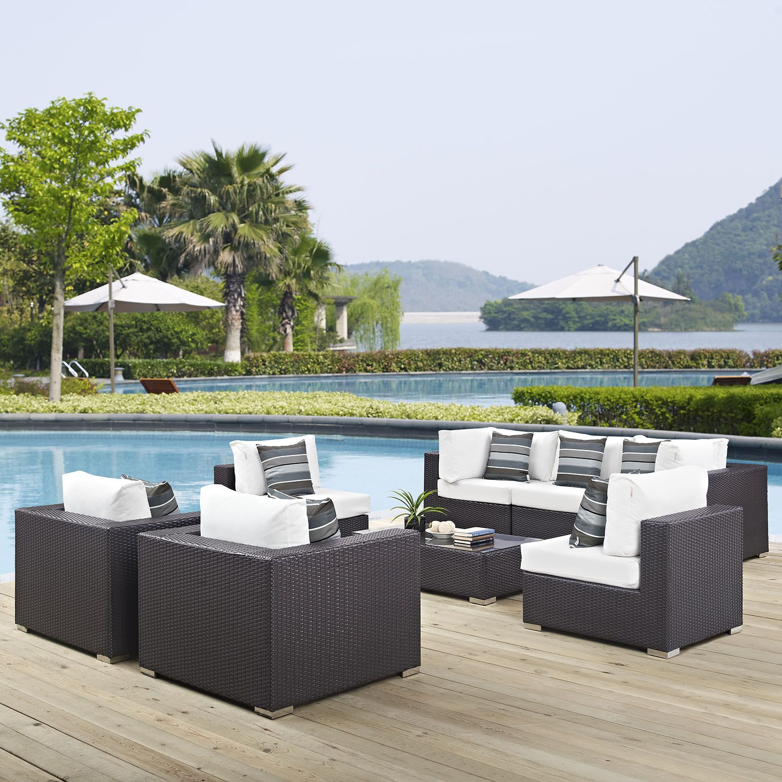 Ryele 8 Piece Rattan Sectional Set with Cushions Fabric: White