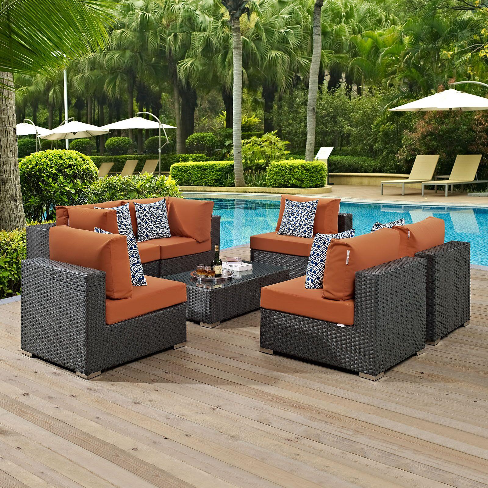 Tripp 7 Piece Rattan Sunbrella Sectional Set with Cushions Fabric: Beige