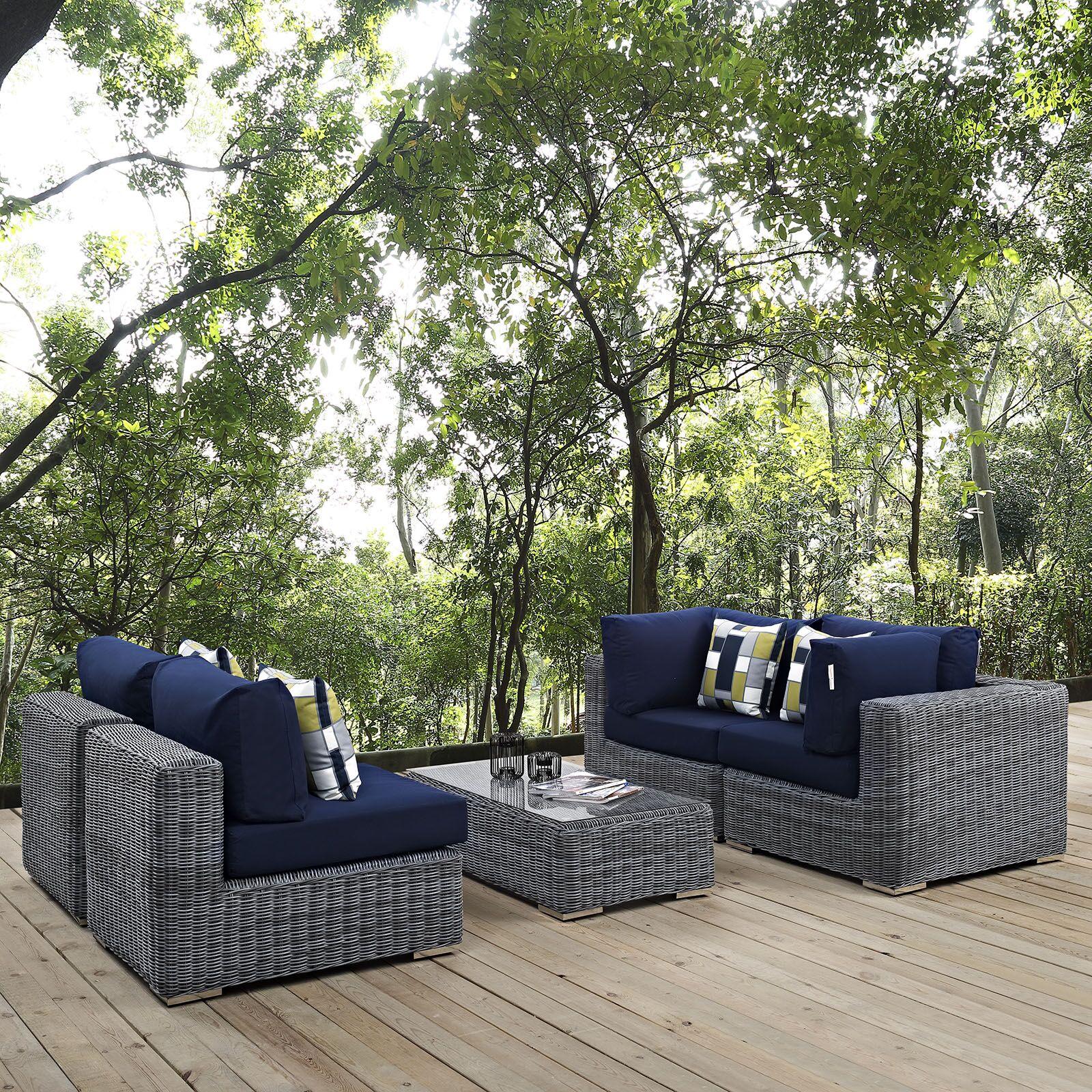 Keiran 5 Piece Rattan Sunbrella Sectional Set with Cushions Fabric: Navy