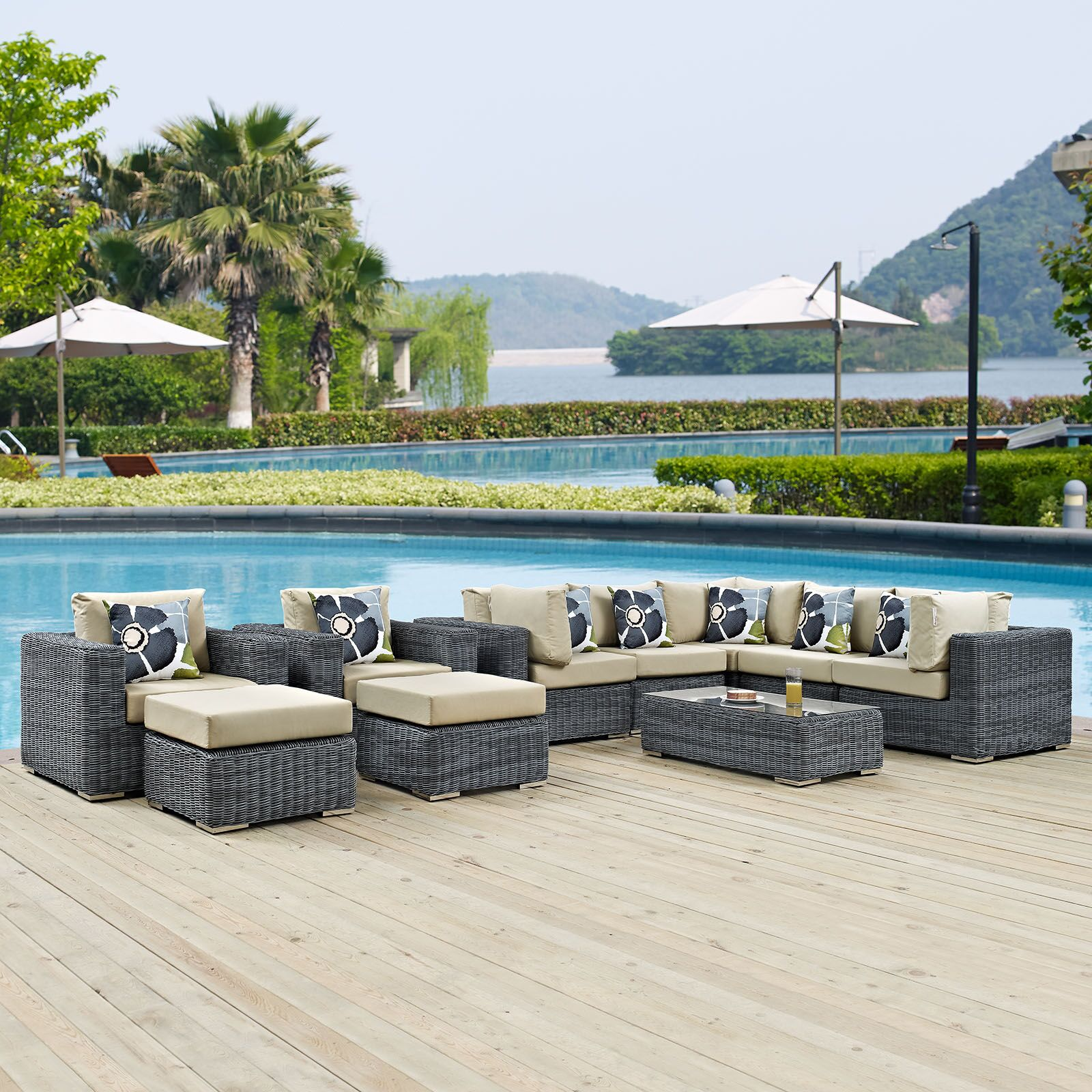 Keiran 10 Piece Sunbrella Sectional Set with Cushions Fabric: Beige