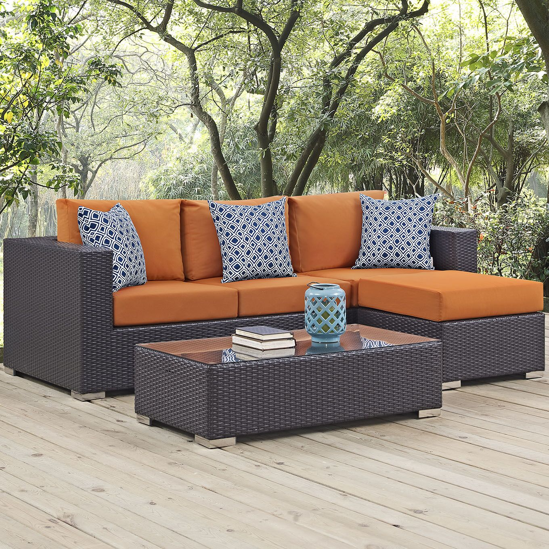 Ryele 3 Piece Rattan Sectional Set with Cushions Fabric: Orange