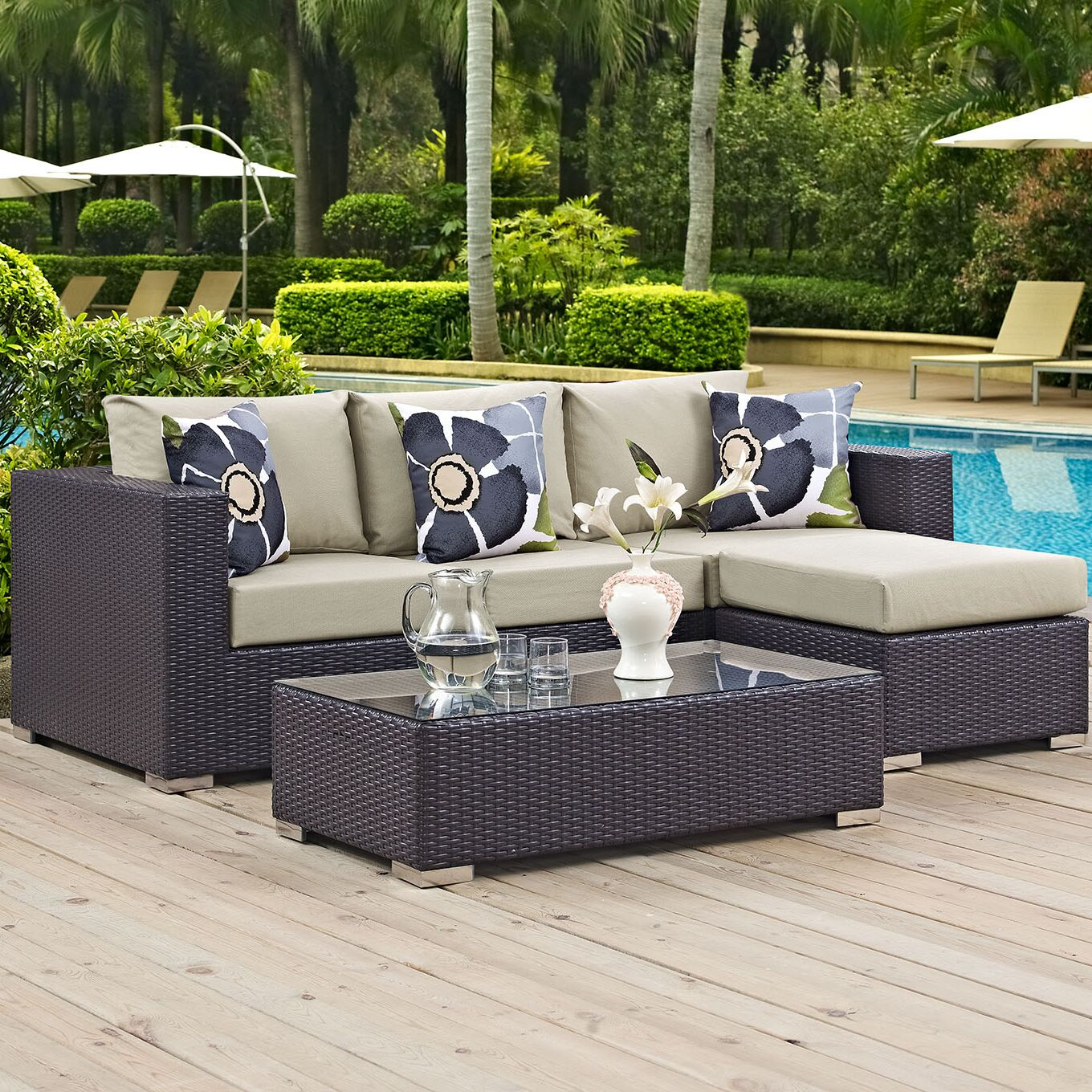 Ryele 3 Piece Rattan Sectional Set with Cushions Fabric: Beige
