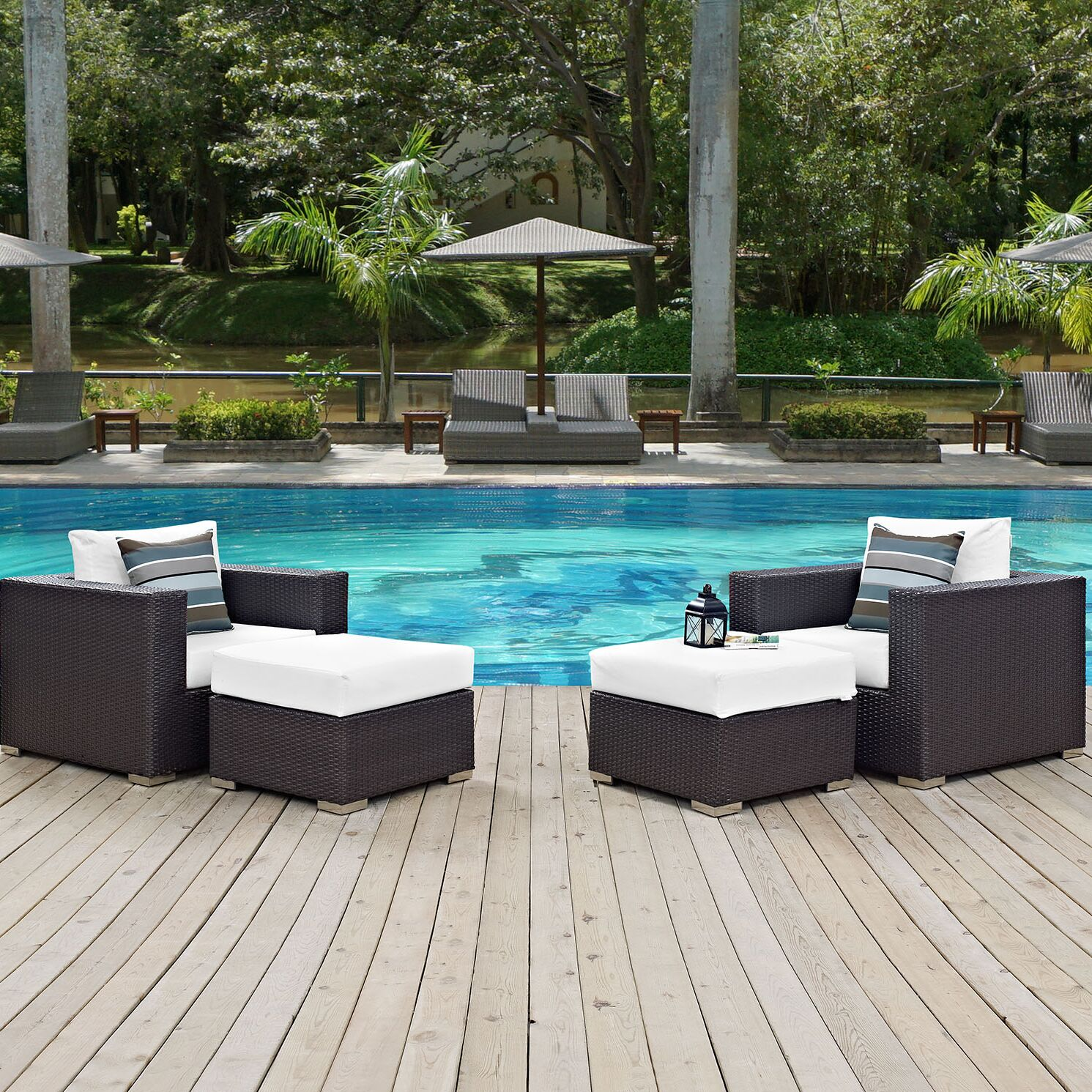 Ryele 4 Piece Rattan Conversation Set with Cushions Fabric: White