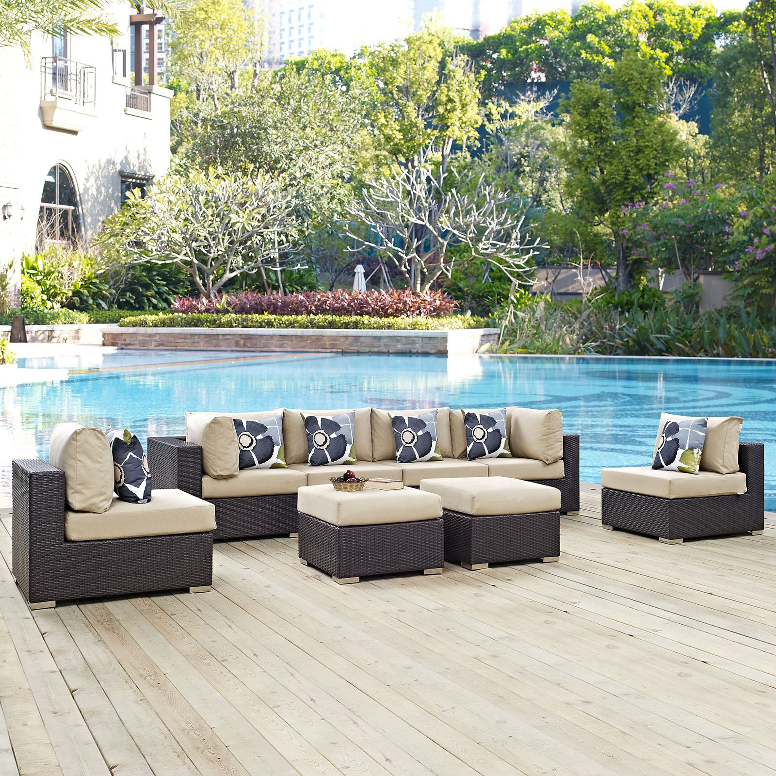 Ryele 8 Piece Rattan Sectional Set with Cushions Fabric: Beige