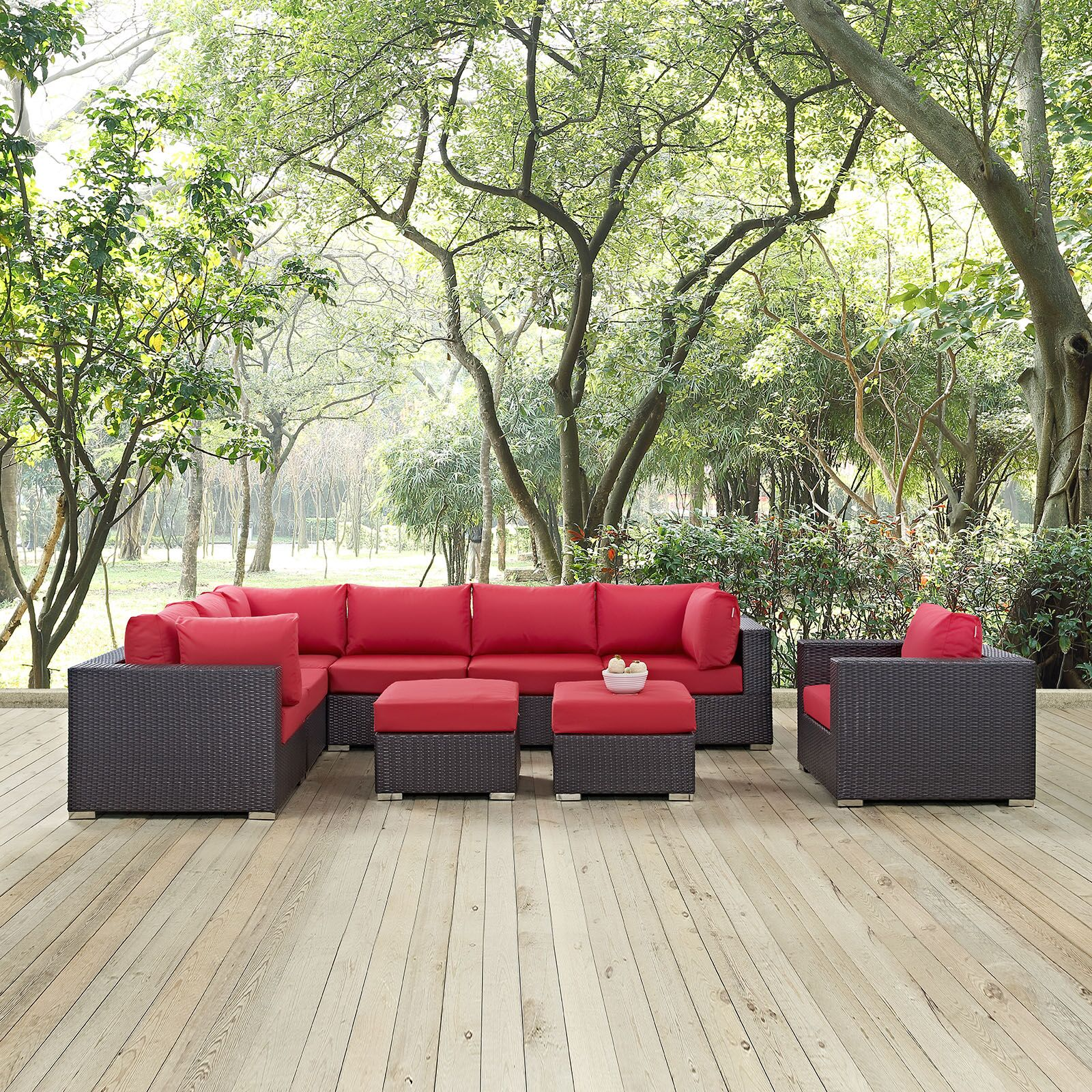 Ryele 9 Piece Rattan Sectional Set with Cushions Fabric: Espresso Red