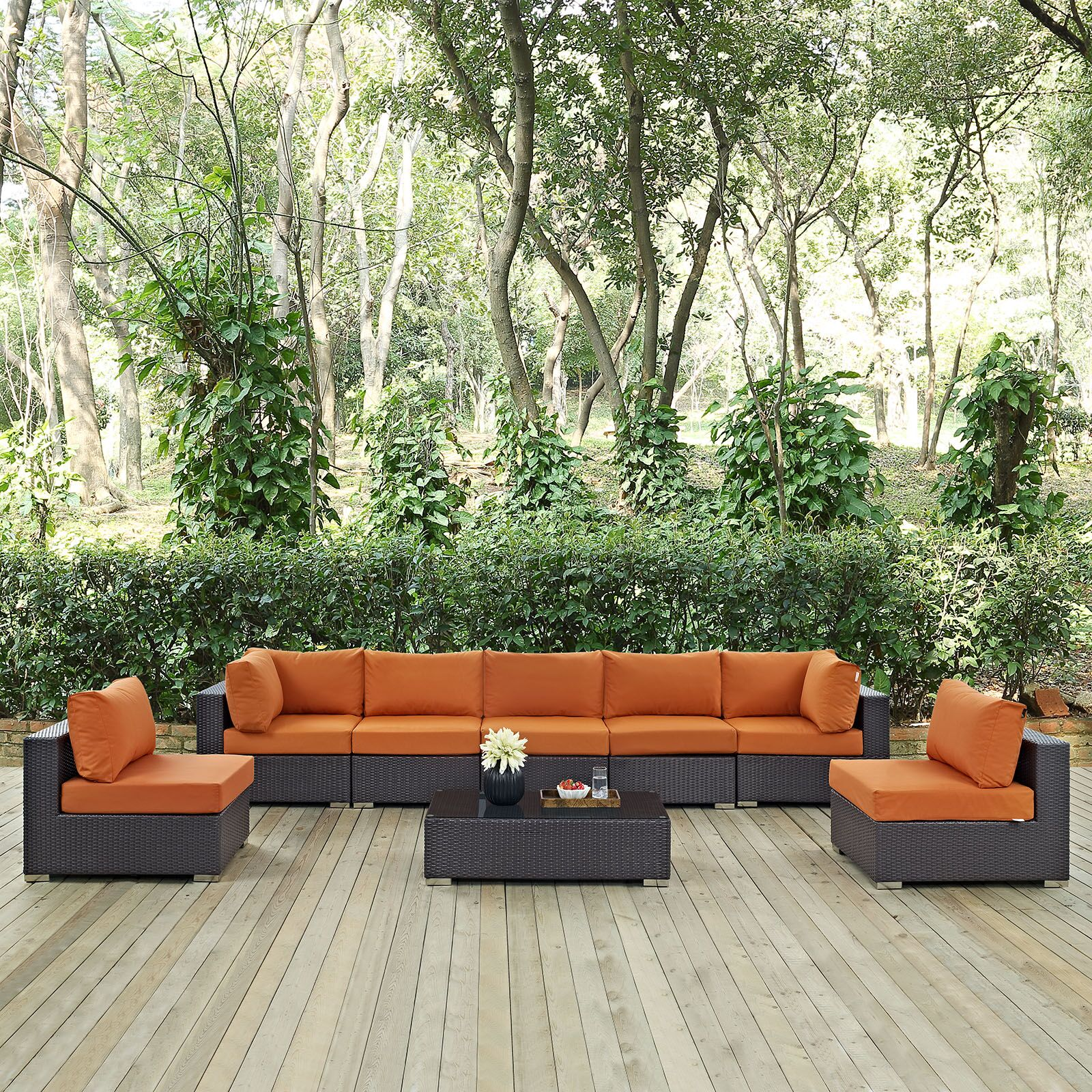 Ryele 8 Piece Rattan Sectional Set with Cushions Fabric: Espresso Orange