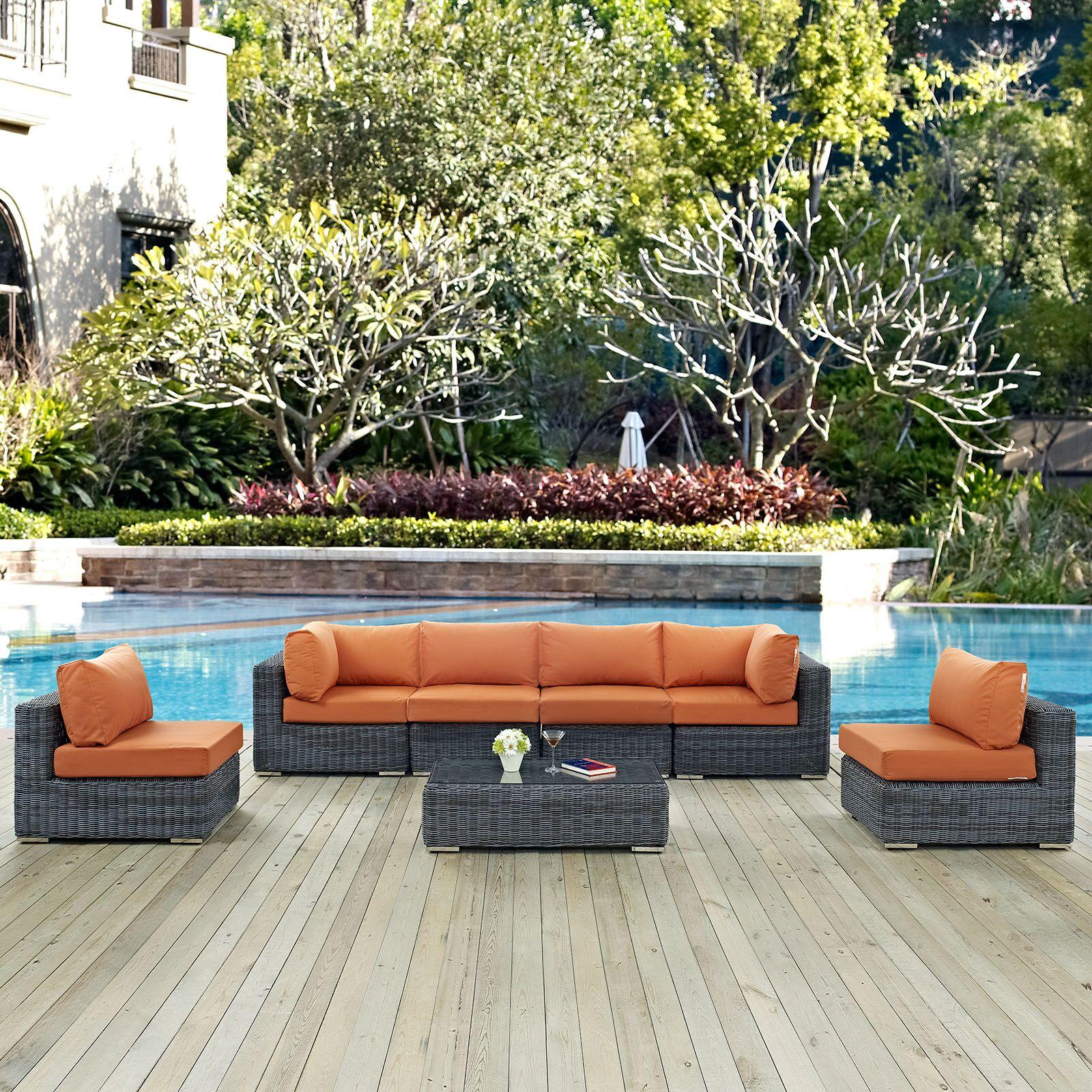 Keiran 7 Piece Sunbrella Sectional Set with Cushions Fabric: Tuscan