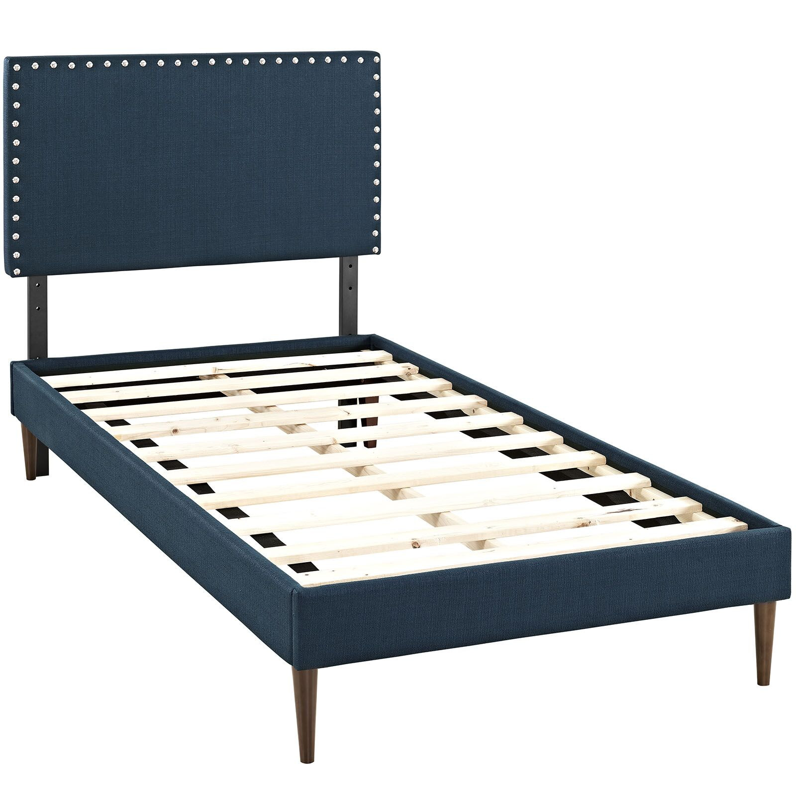 Preiss Upholstered Platform Bed Color: Azure, Size: Twin