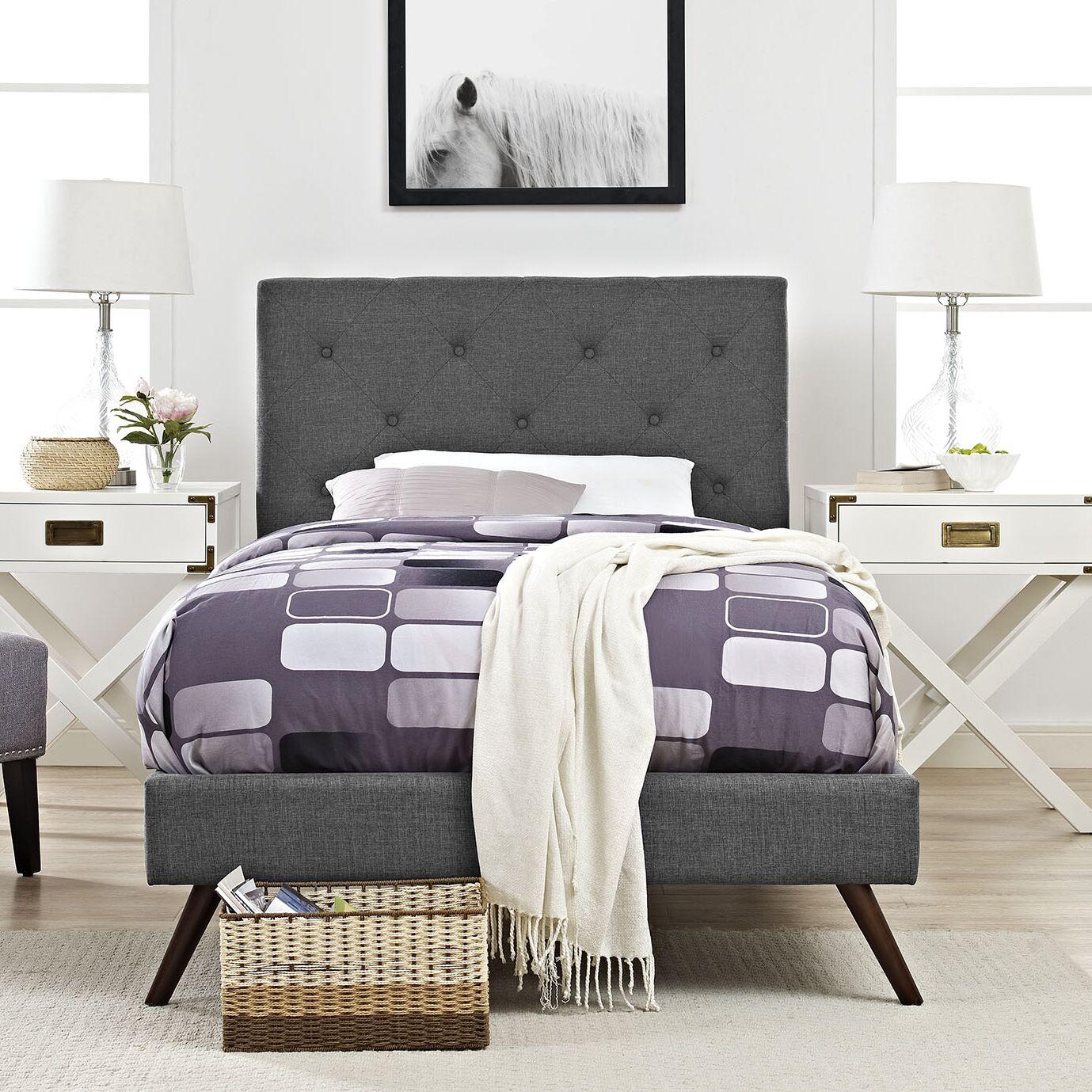 Ziemer Upholstered Platform Bed Color: Gray, Size: King