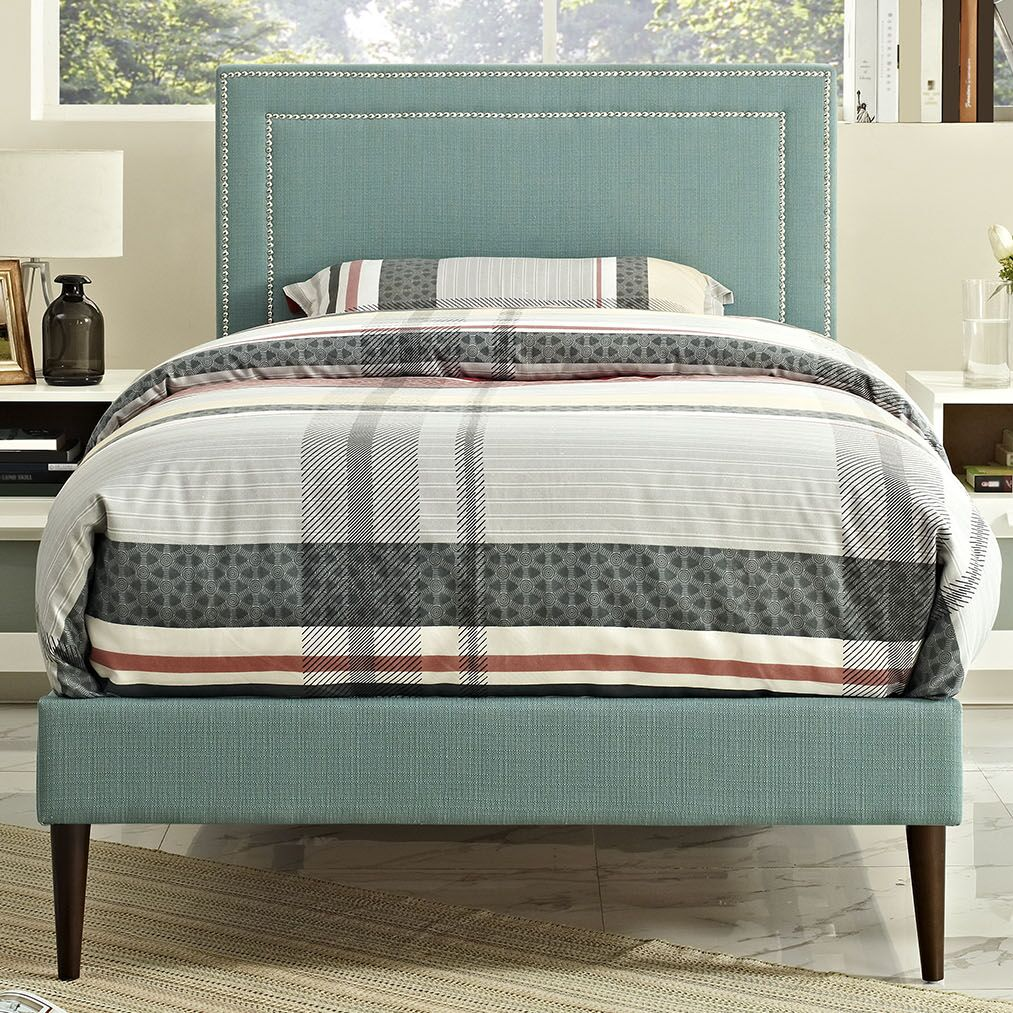 Eyre Upholstered Platform Bed Color: Laguna, Size: Twin