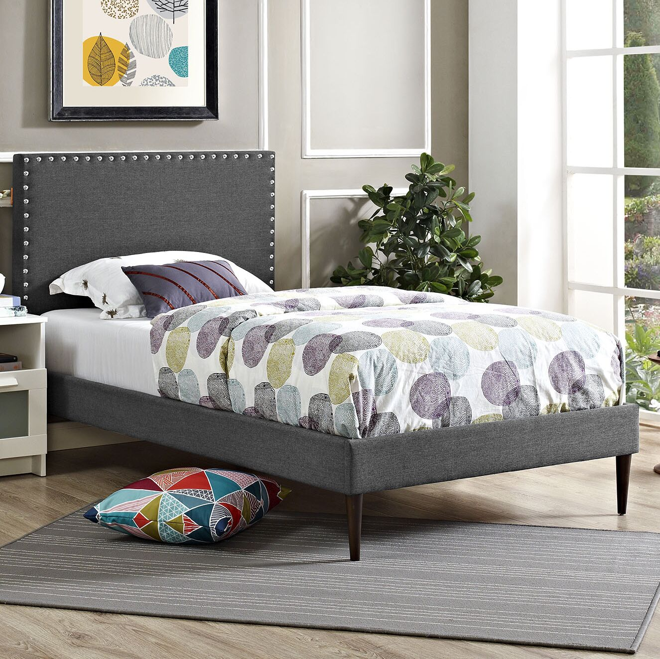 Preiss Upholstered Platform Bed Color: Laguna, Size: Full