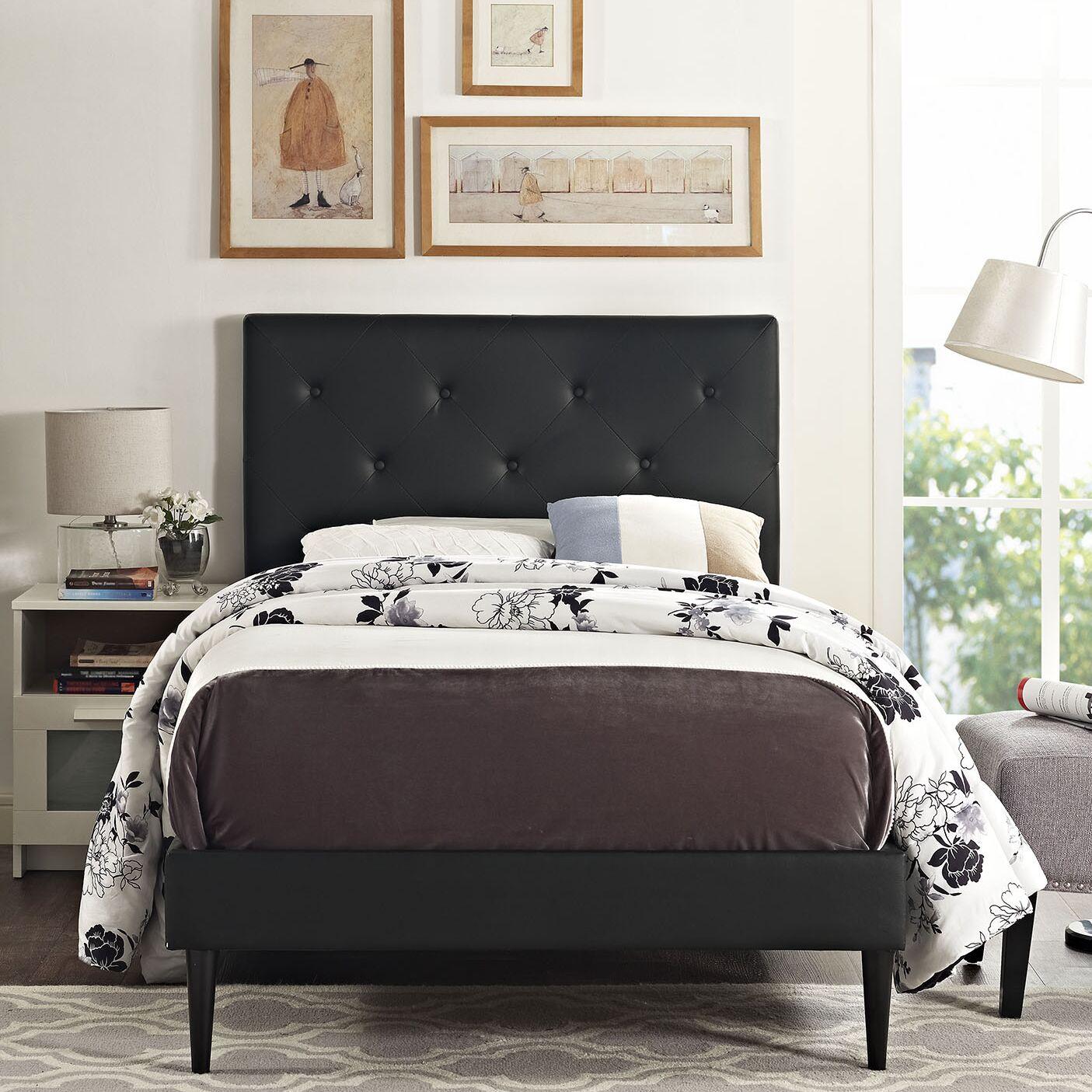 Ziemer Upholstered Platform Bed Color: Black, Size: King