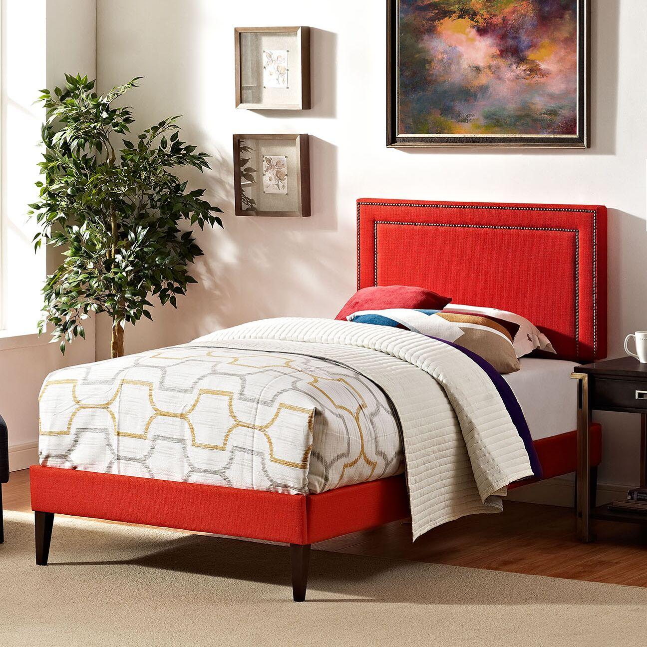 Eyre Upholstered Platform Bed Size: Twin, Color: Atomic Red